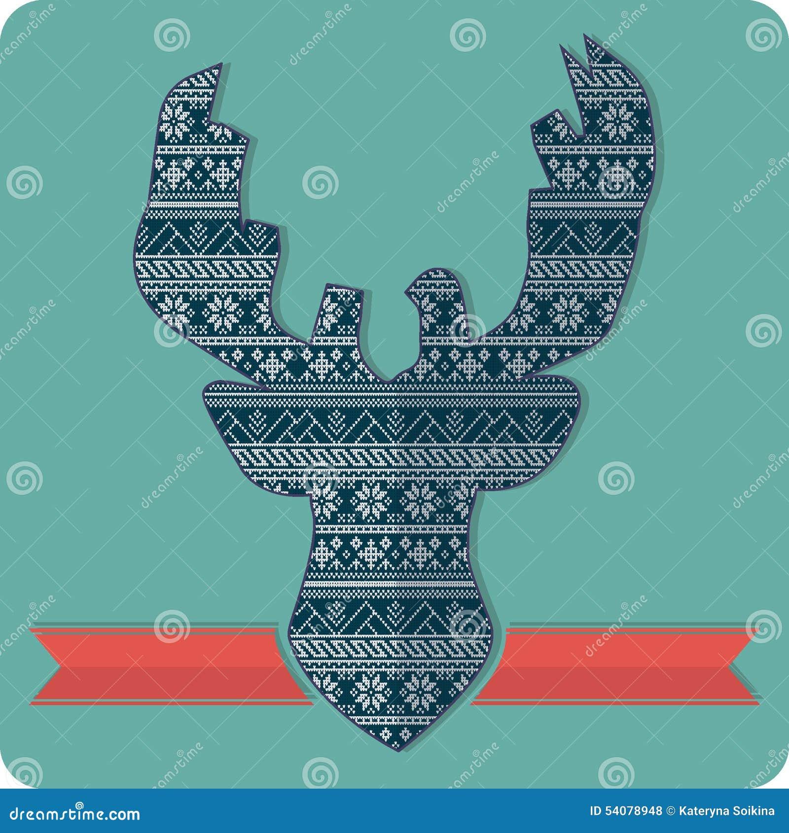 De breiende sweater van het hertenpatroon