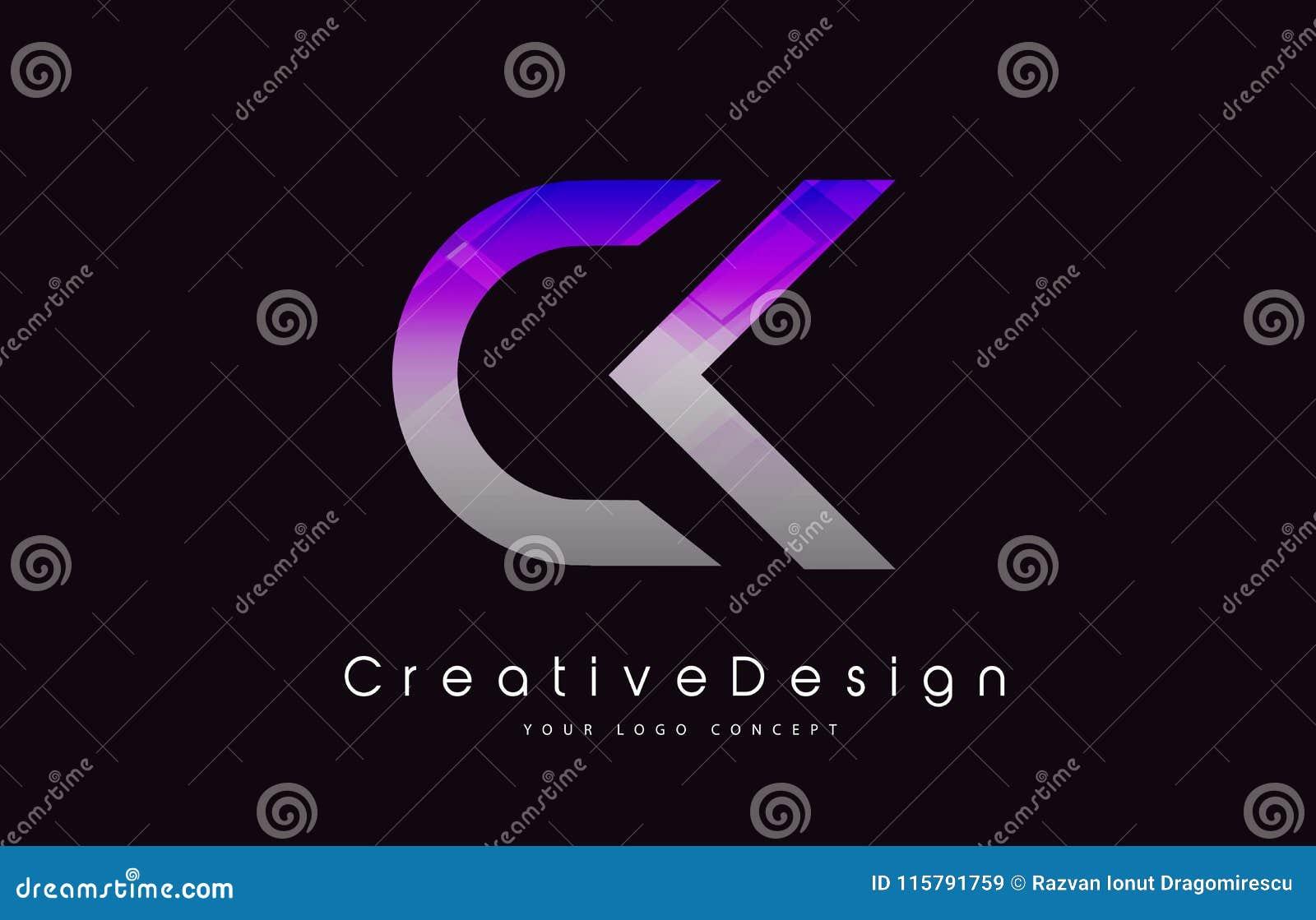 De Brief Logo Design van CK Purper Textuur Creatief Pictogram Moderne Lette