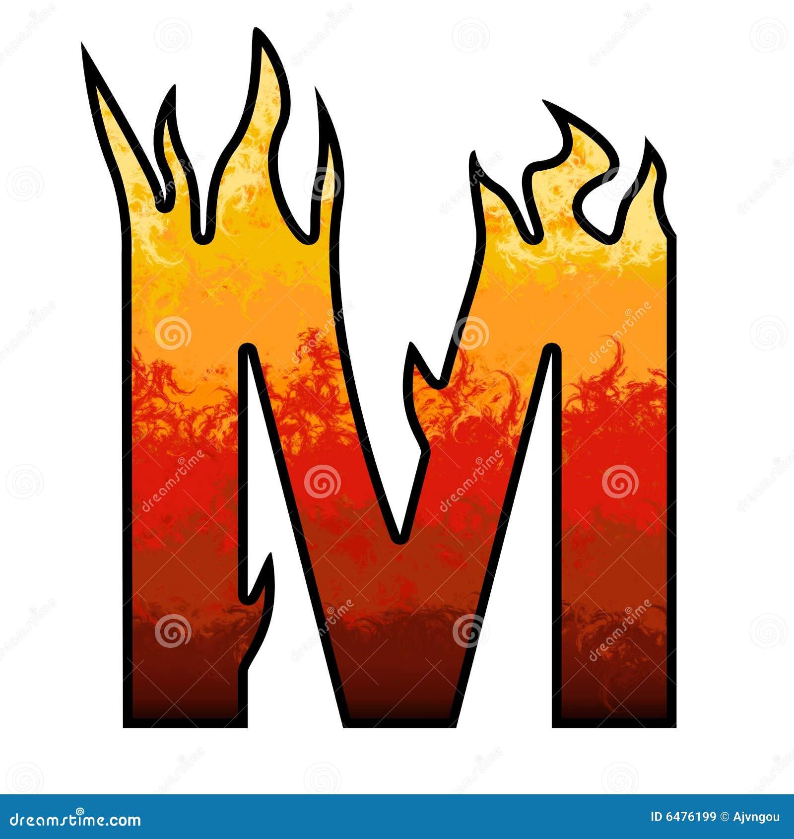 De Brief M van het Alfabet van vlammen