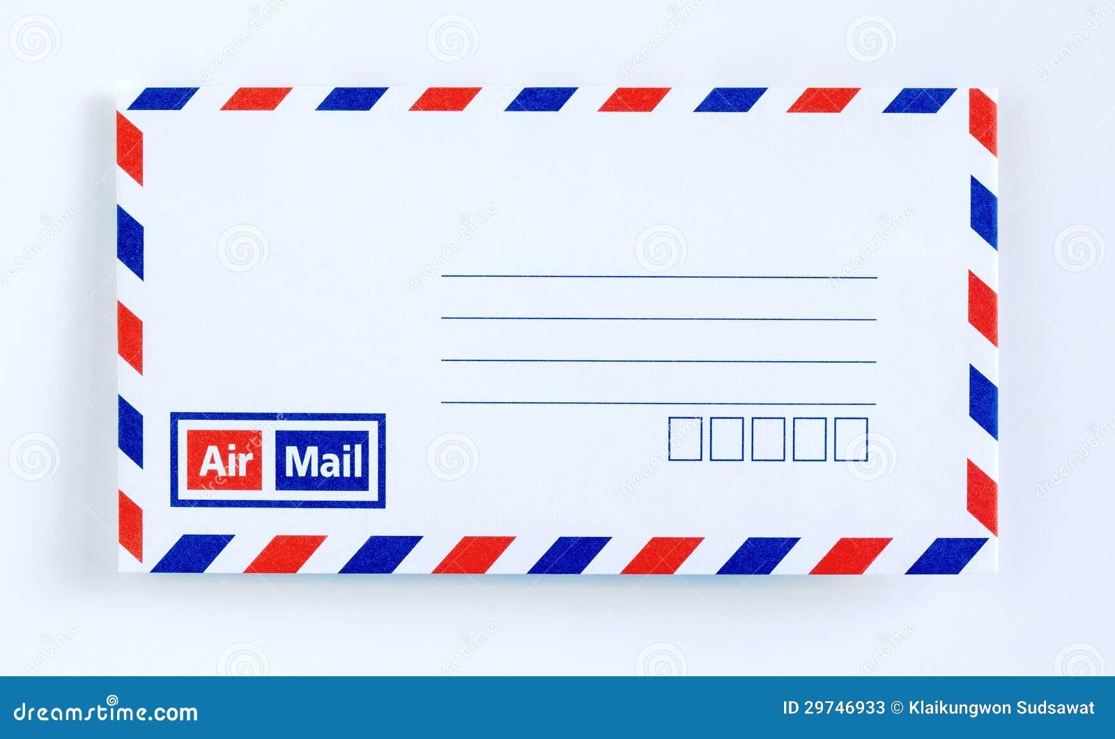 De brief van de de postenvelop van de lucht