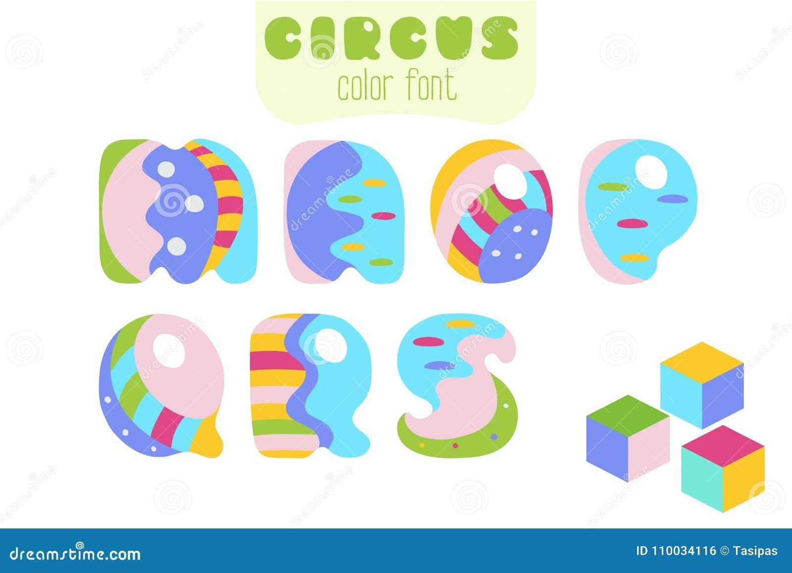 De brieven M van de beeldverhaalstijl, de blokken van N, van O, van P, van Q, van R, van S en stuk speelgoed