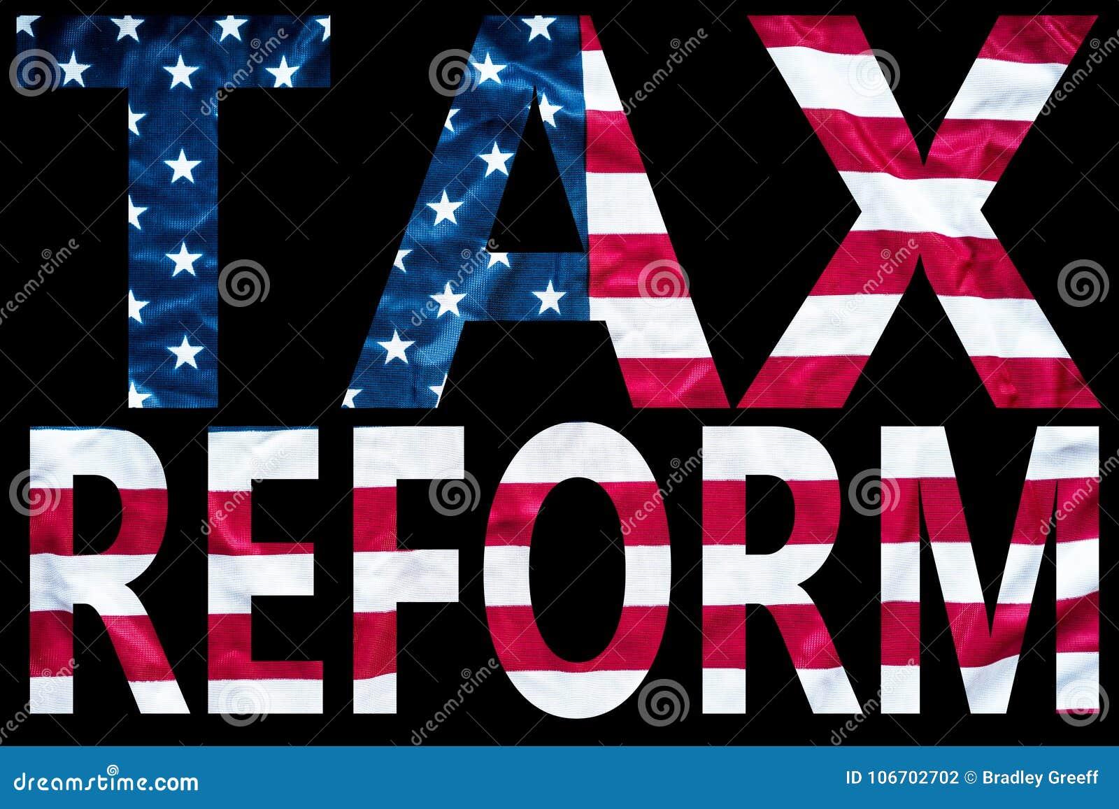 De brieven van de belastingshervorming op vlag