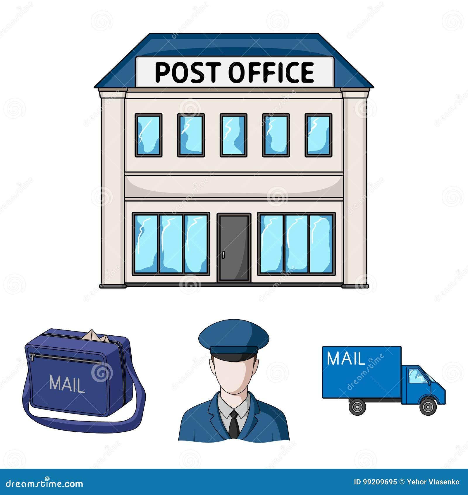 De brievenbesteller in eenvormige, postmachine, zak voor correspondentie, postbureau Post en brievenbesteller vastgestelde inzame