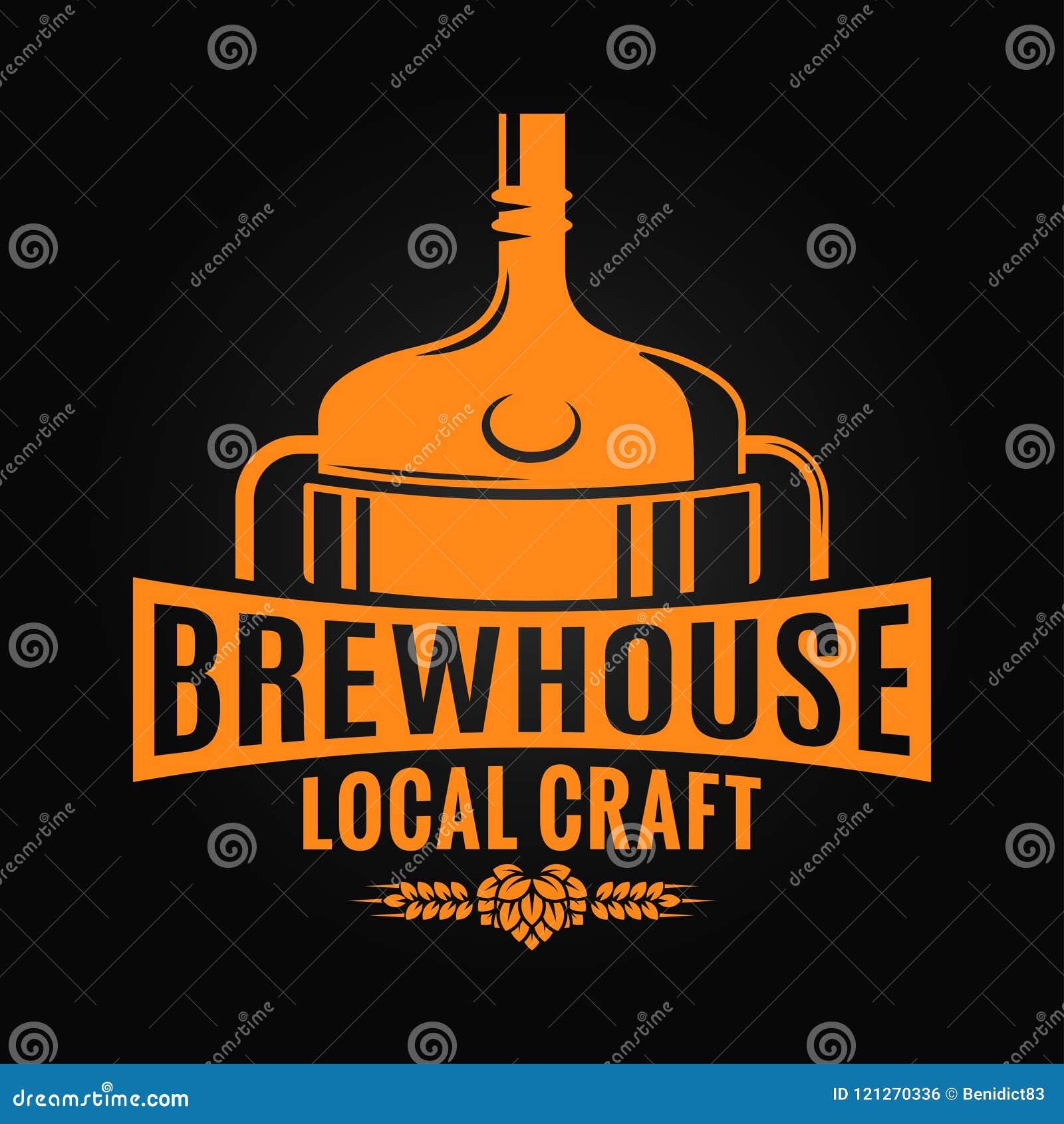 De brouwerijontwerp van de biertank Het embleem van de brouwerijambacht op zwarte achtergrond
