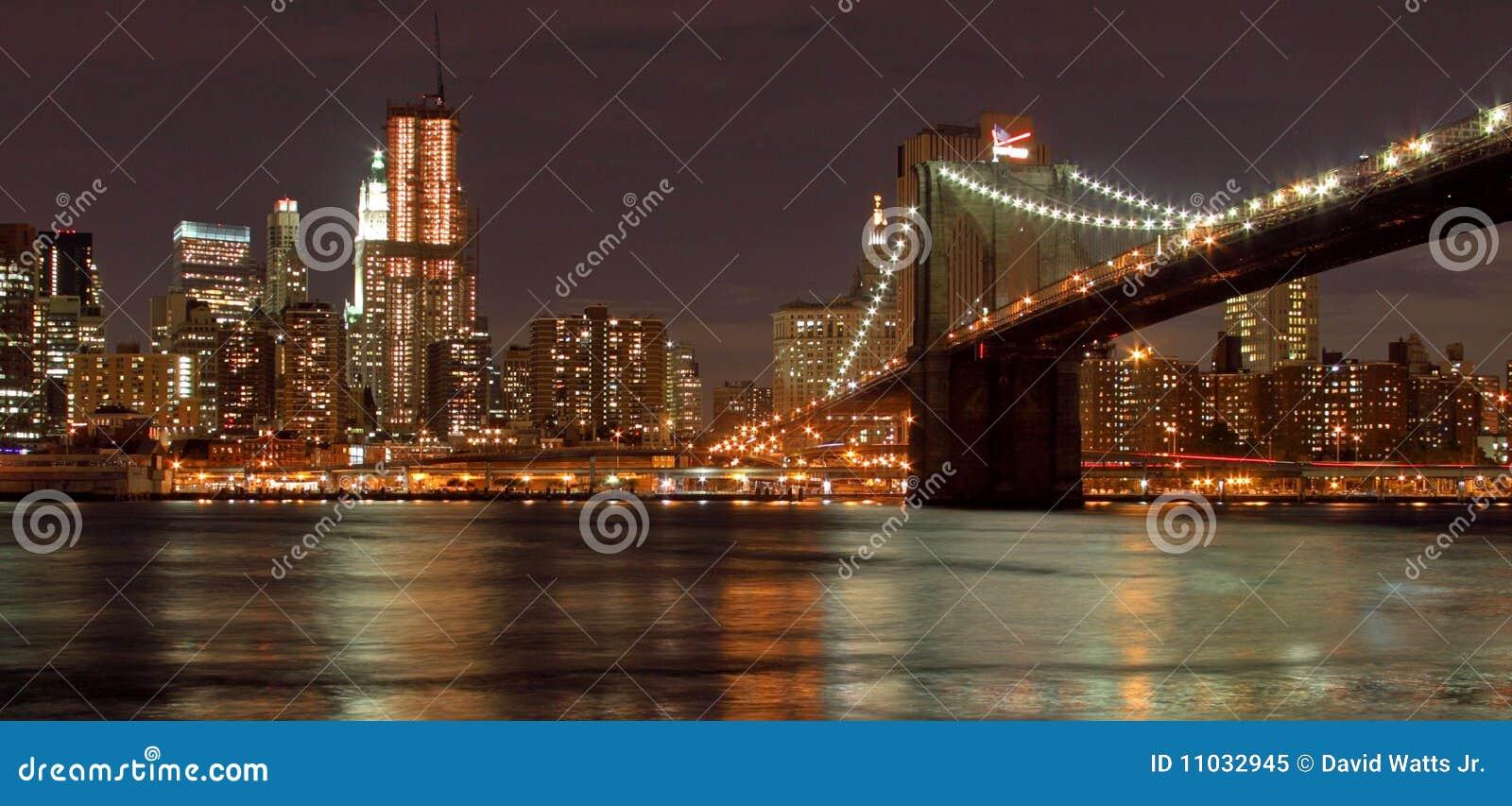 De Brug van Brooklyn & de Stad van New York