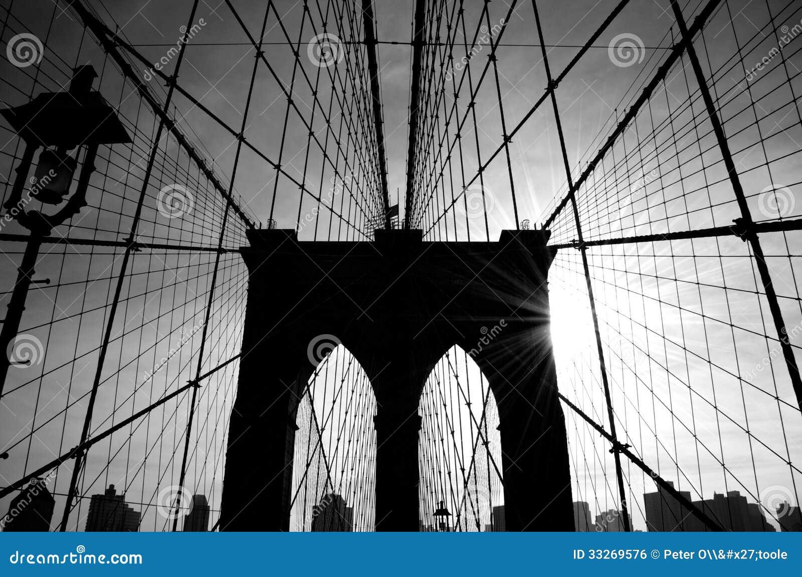 De Brug van Brooklyn, het Silhouet van New York