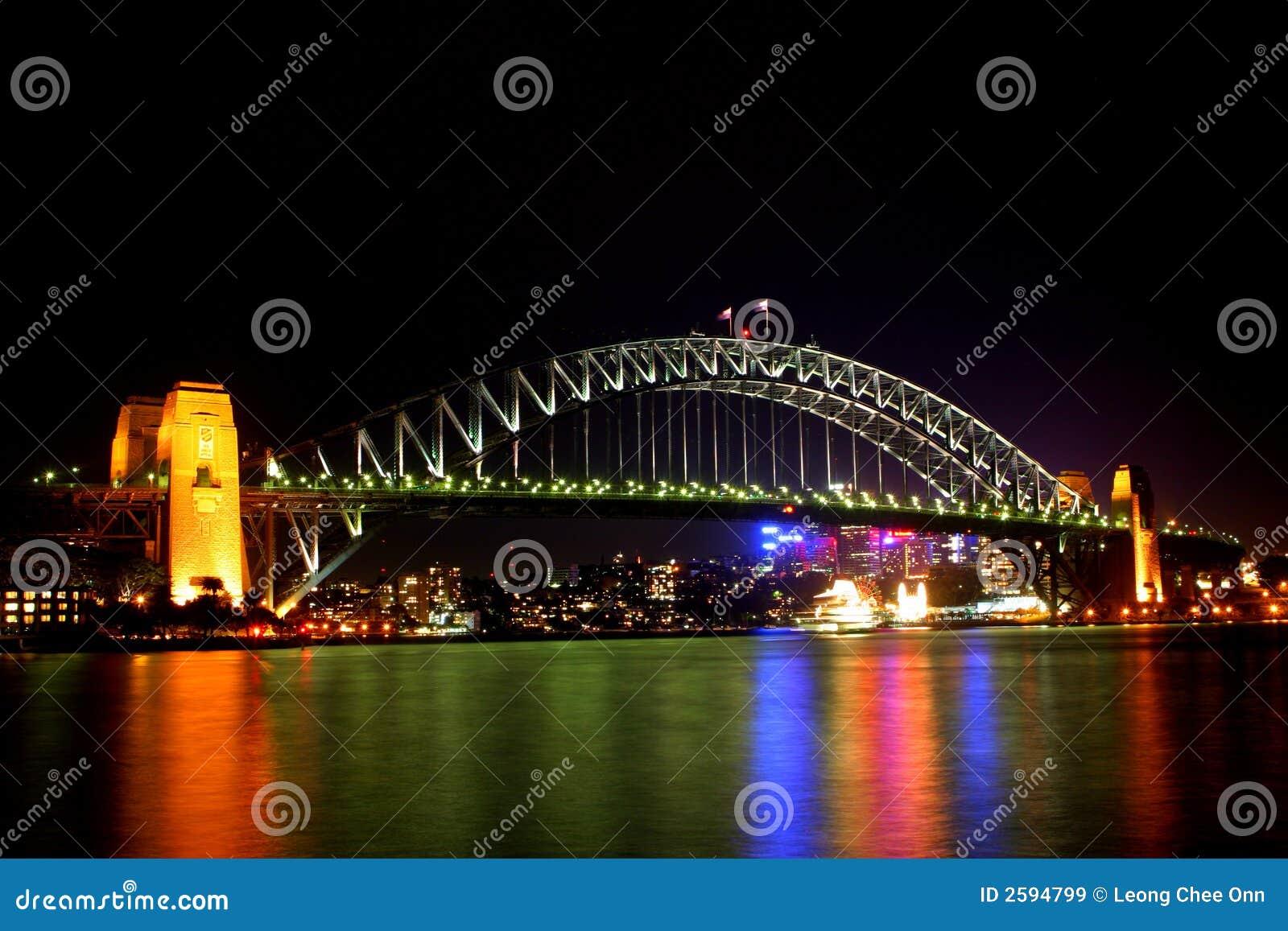 De Brug van de Haven van Sydney bij nacht