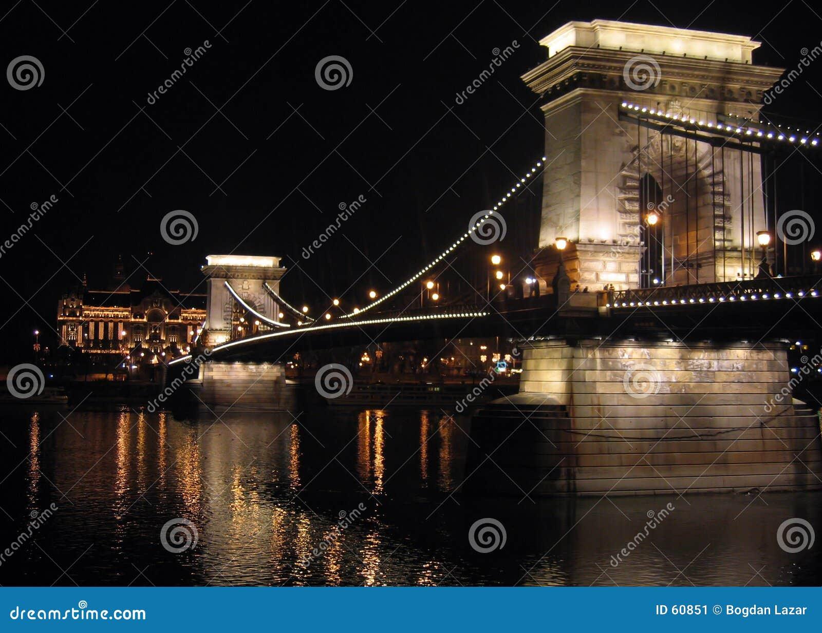 De Brug van de ketting van  s nachts Boedapest