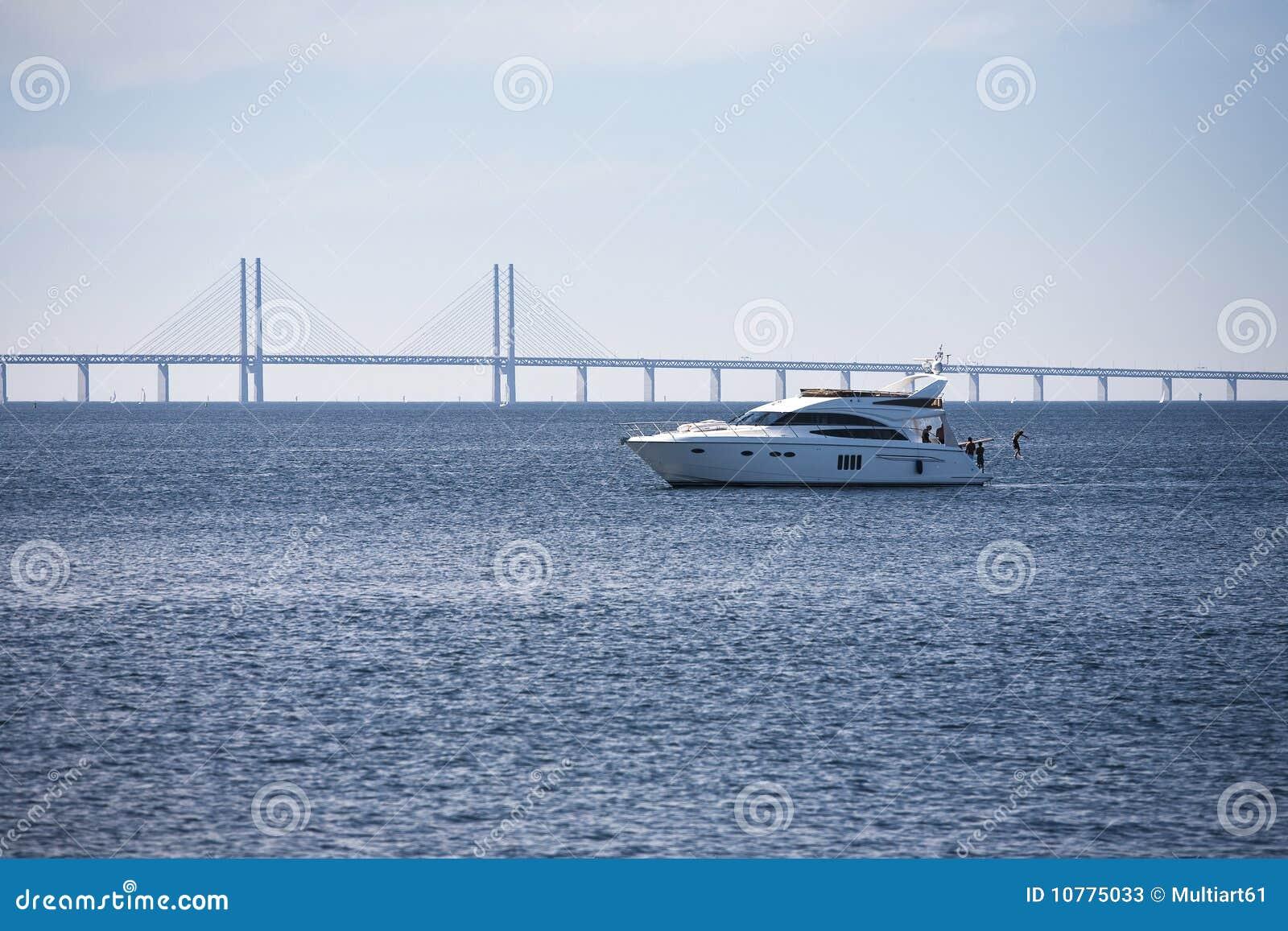 De Brug van Oresund met boot