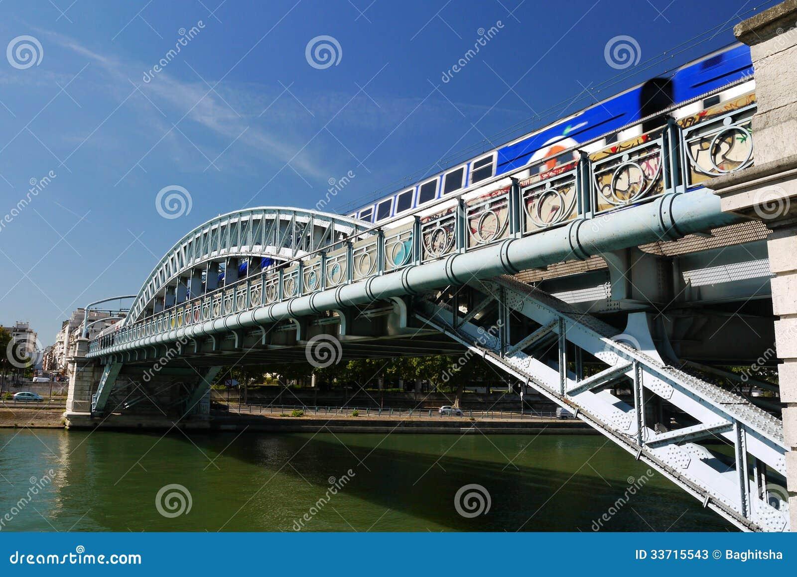 De brug van Pontrouelle, Parijs, Frankrijk.