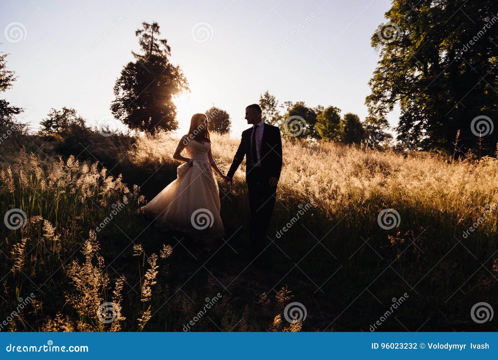 De bruidegom houdt bride& x27; s hand terwijl zij van de heuvel dalen