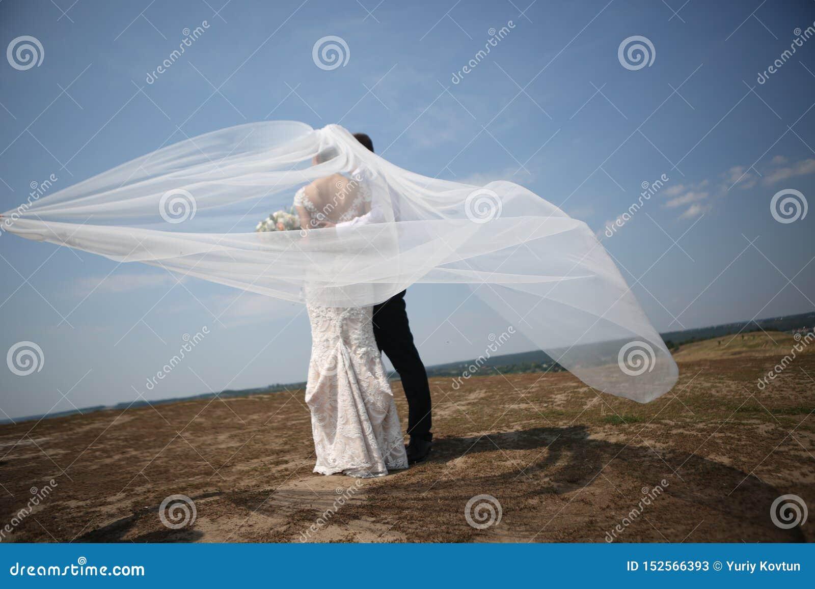 De bruidegom van de huwelijksbruid op hoogste windsluier