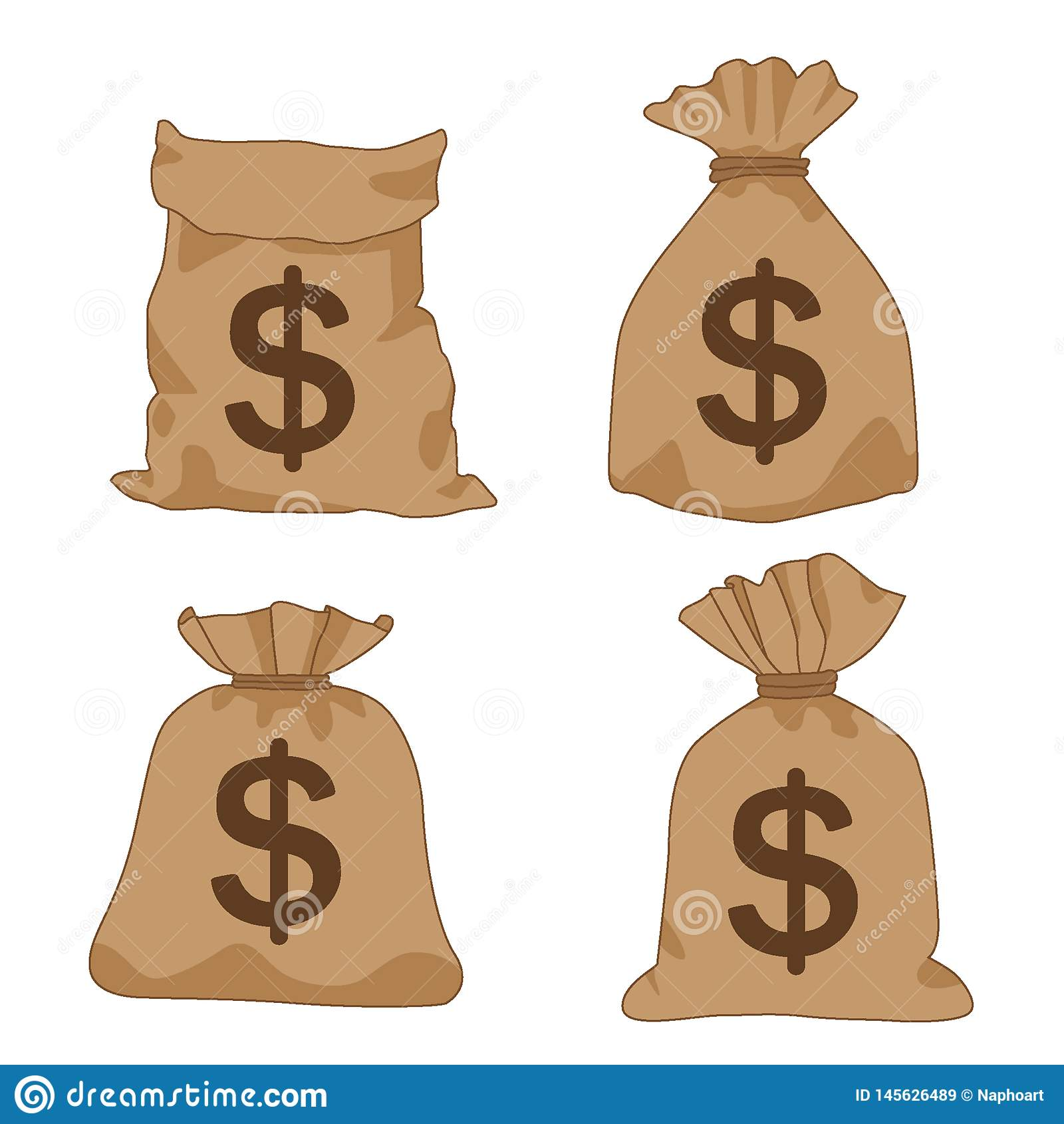 De bruine dollars van de geldzak op witte achtergrondillustratievector