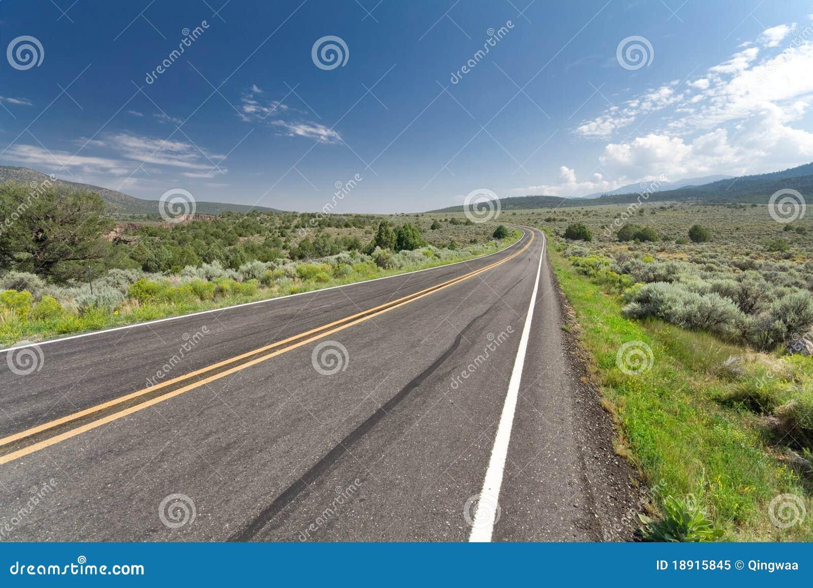 De buigende Lege Weg New Mexico de V.S. van de Woestijn van Twee Steeg