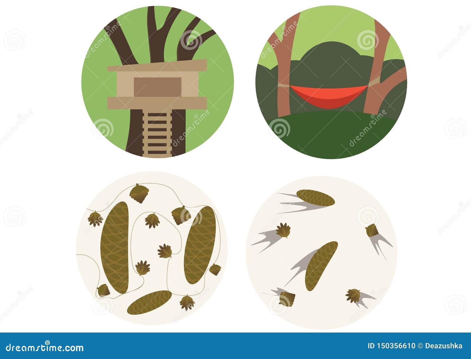 De builen van de de krabbelkleur van het drukbeeldverhaal geplaatst bospakboom een huis om de zomer te doen