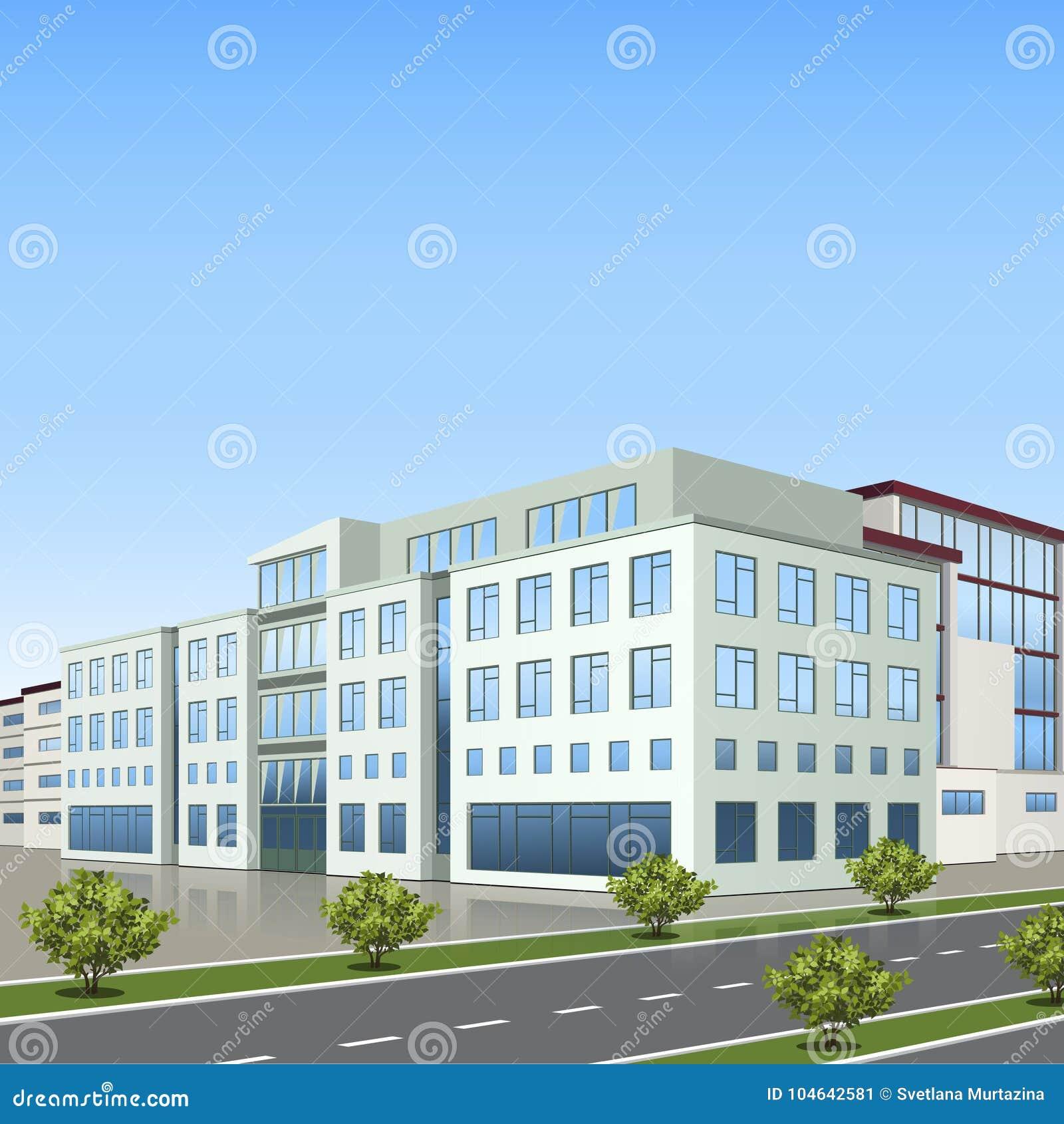 Download De Bureaubouw Met De Ingang En Een Bezinning Vector Illustratie - Illustratie bestaande uit internet, ontwerp: 104642581