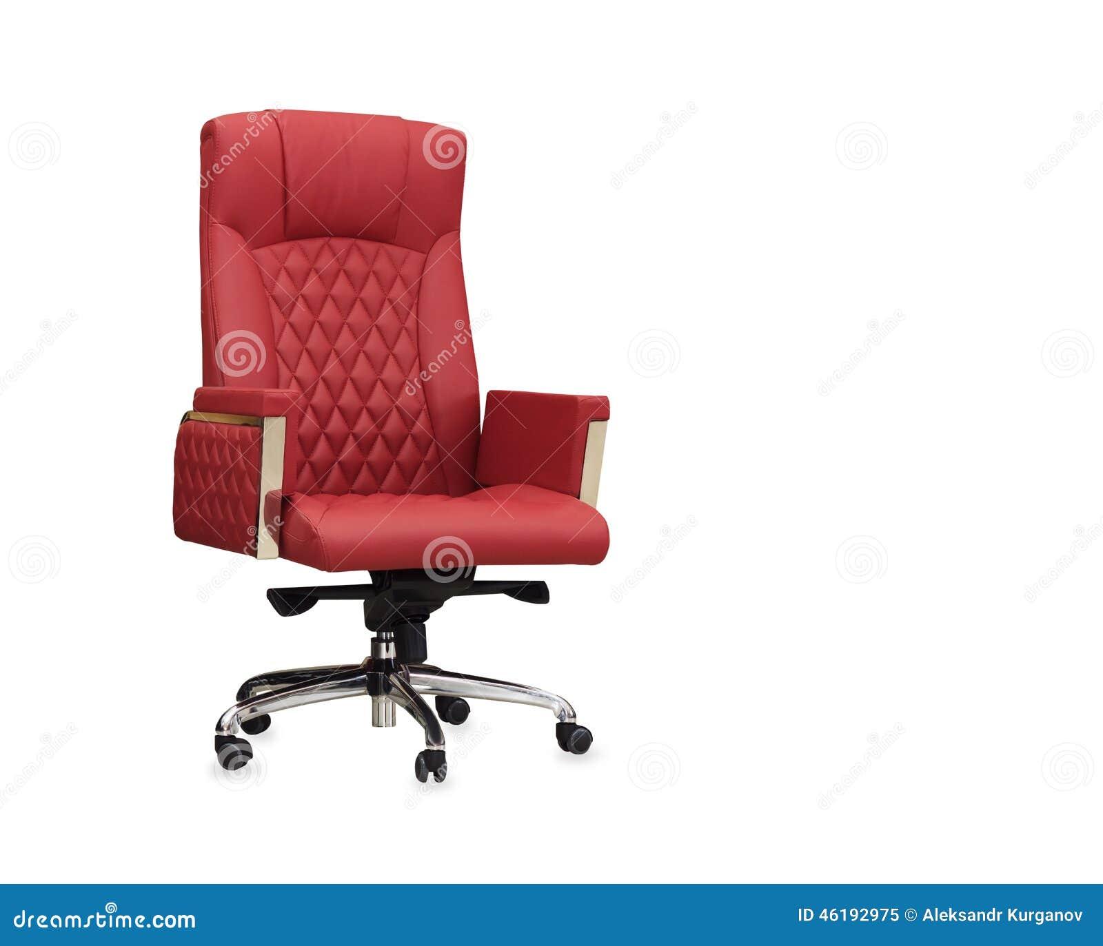 Bureaustoel Rood Leer.De Bureaustoel Van Rood Leer Geisoleerde Stock Afbeelding