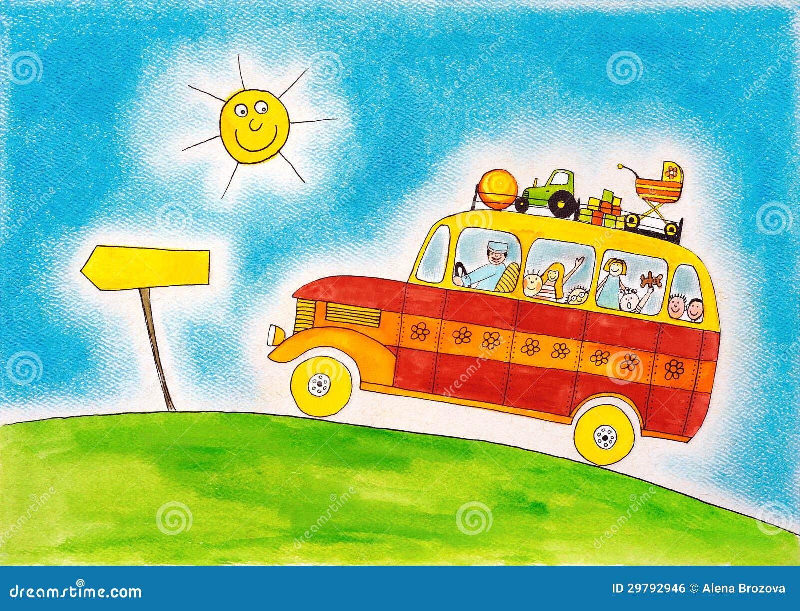 De busreis van de school de tekening van het kind waterverf het schilderen royalty vrije stock - Schilderen kind jongen ...