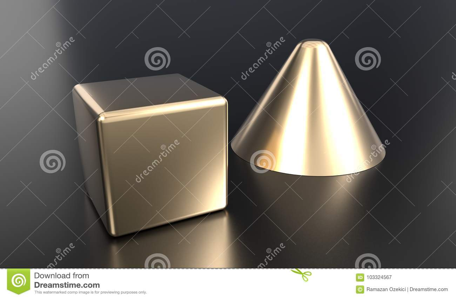 Or de cône et de cube coloré, rendu 3d
