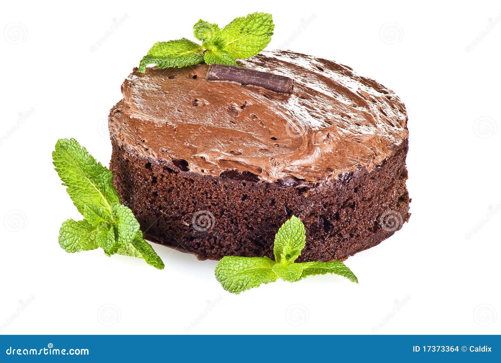 De cake en de munt van de chocolade