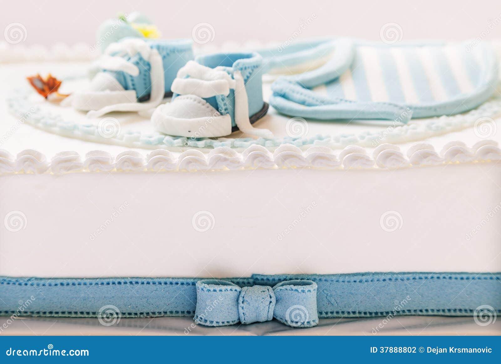 De cake van de babyverjaardag