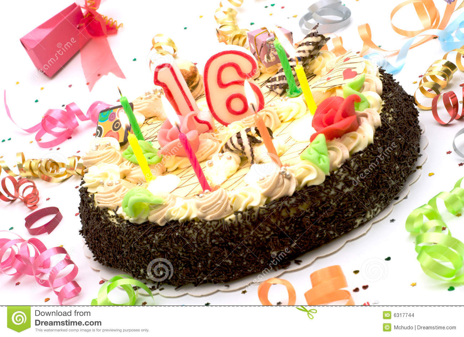 De Cake Van De Verjaardag 16 Jaar Jubileum Stock Foto