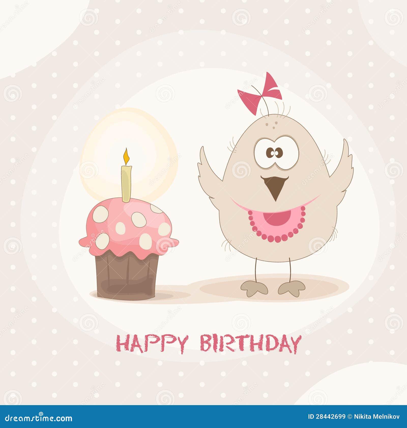 De Cake Van De Verjaardag Van De Vogel Vector Illustratie
