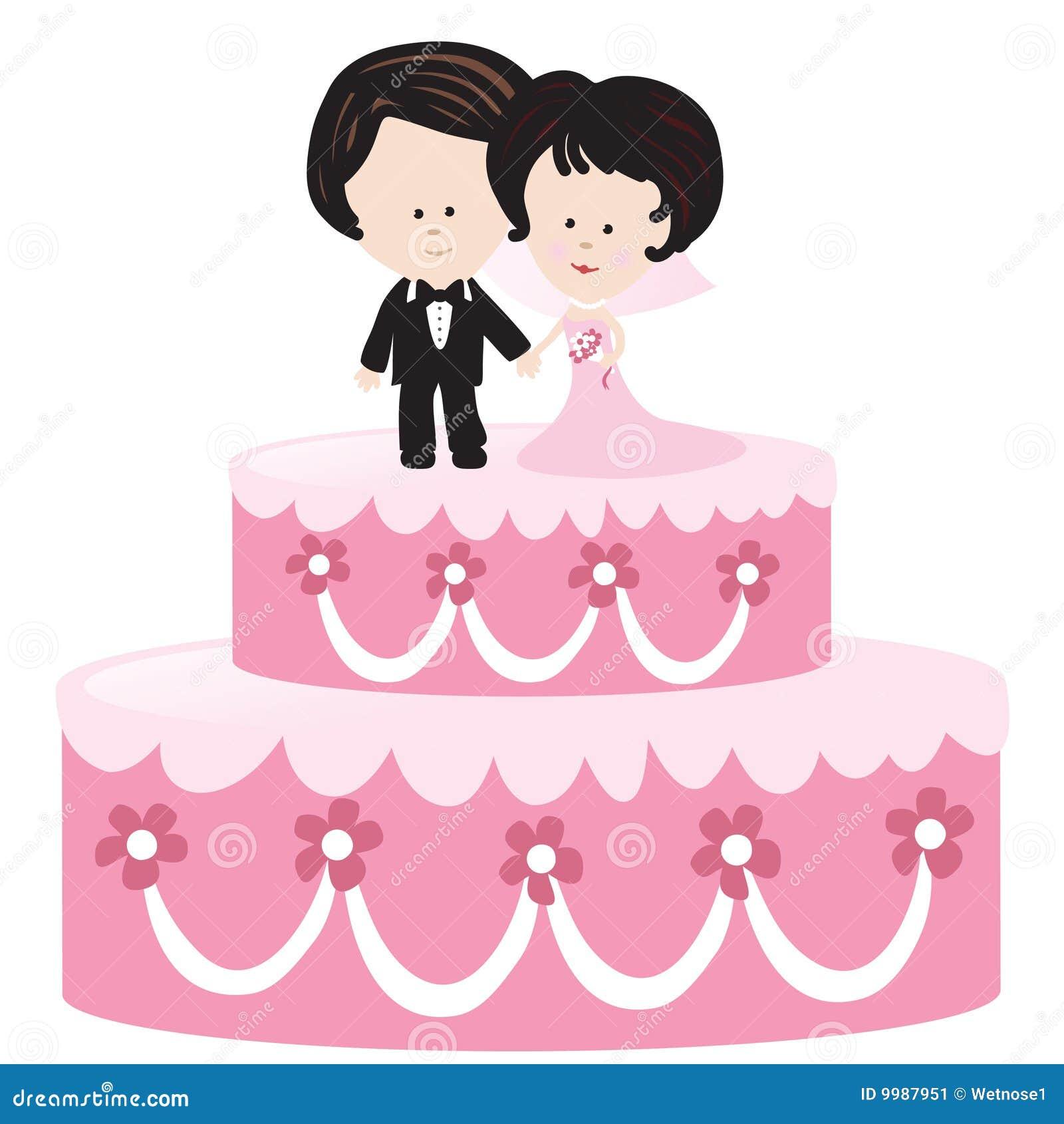 De cake van het huwelijk met bruid en bruidegom stock