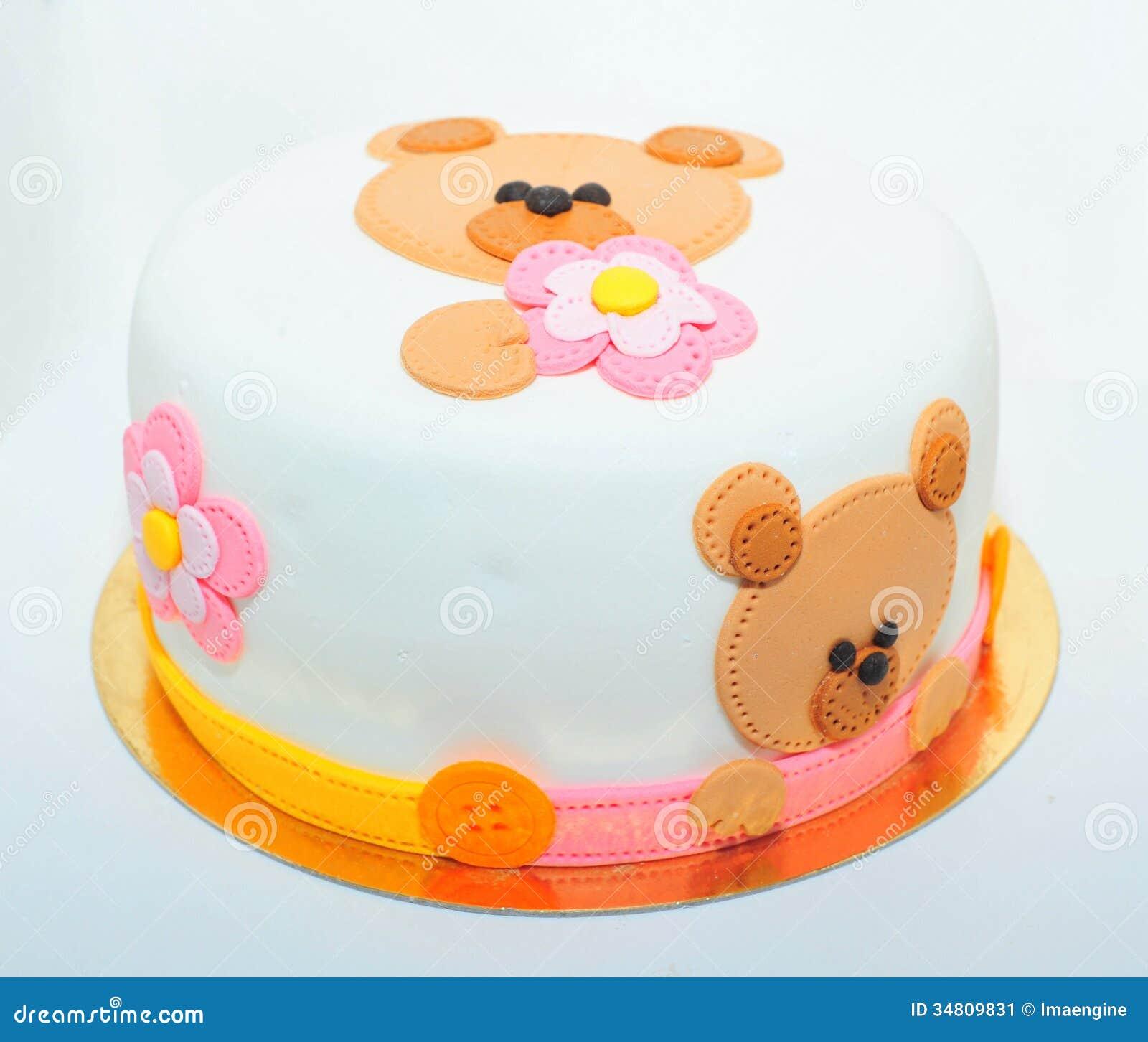 De cake van het teddybeerfondantje