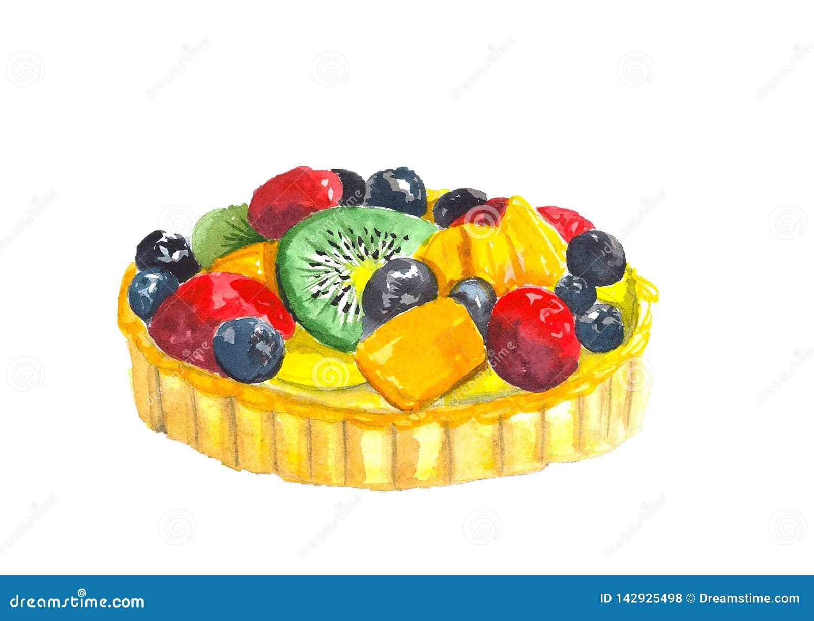 De cake van de de kiwibosbes van het waterverffruit