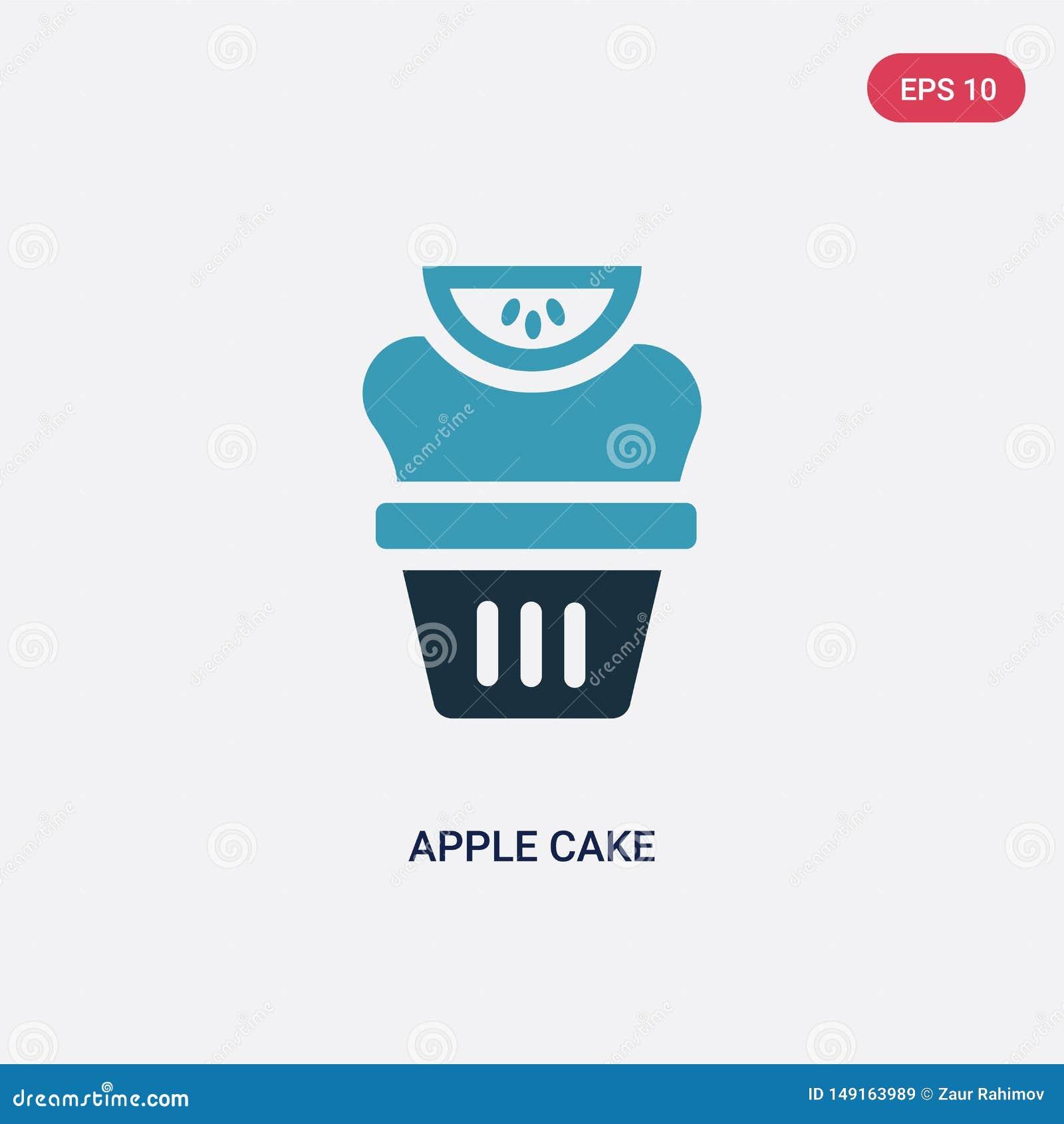 De cake vectorpictogram van de twee kleurenappel van godsdienstconcept het geïsoleerde blauwe vector het tekensymbool van de appe