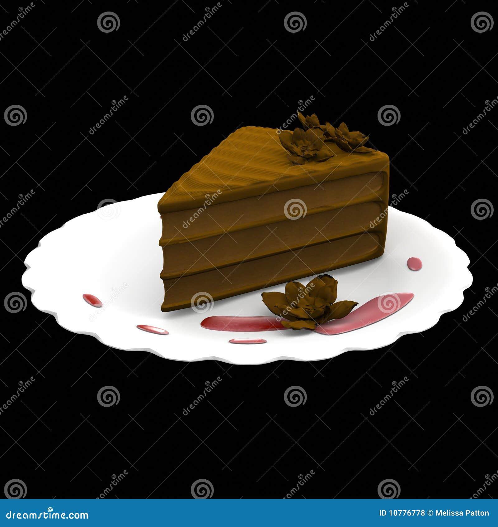 De cakeplak van de chocolade - 3d geproduceerde computer
