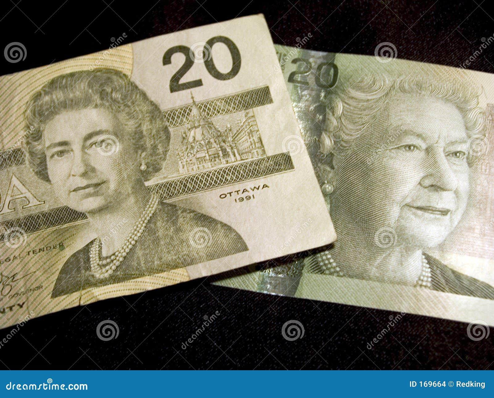 De Canadese Bankbiljetten Van Twintig Dollars Stock Foto