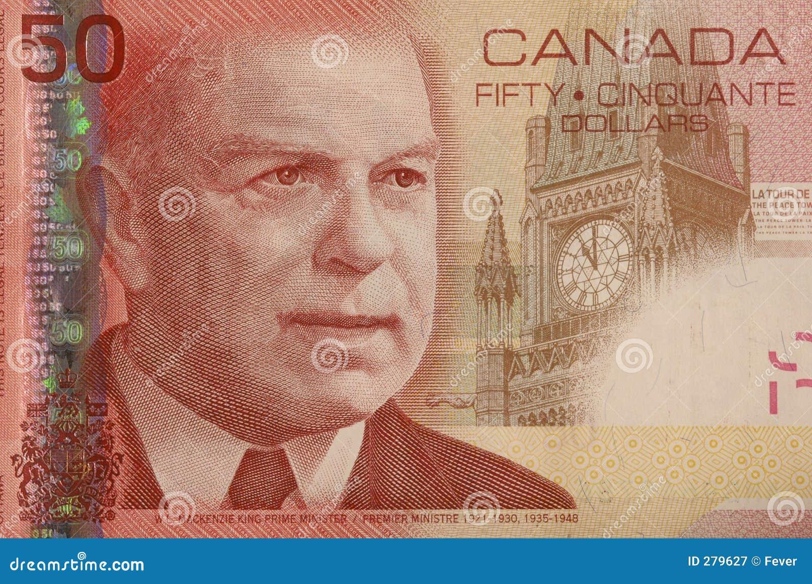 De Canadese hoek van de 50 dollarrekening