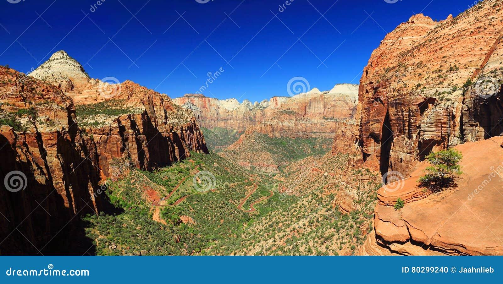 De canion overziet, Zion National Park, Utah