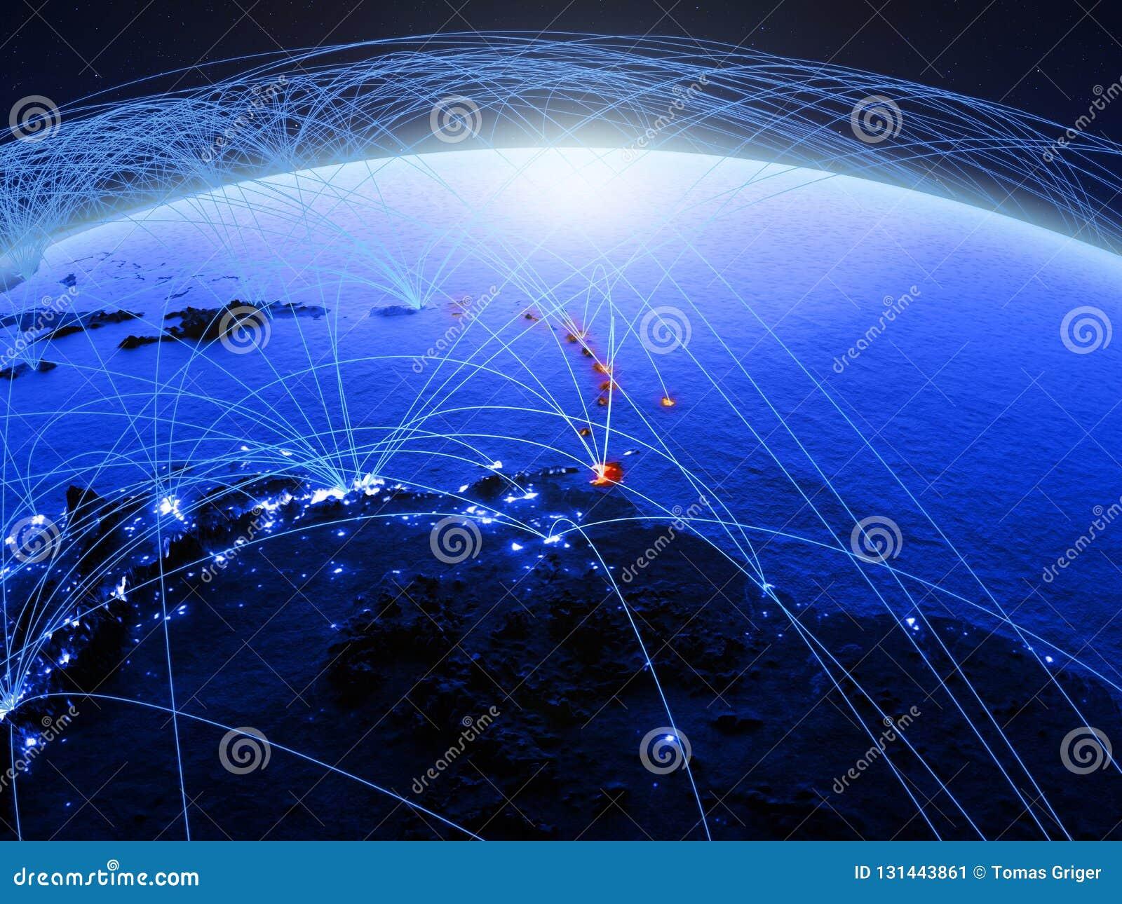 De Caraïben op blauwe digitale aarde met internationaal netwerk die mededeling, reis en verbindingen vertegenwoordigen 3d