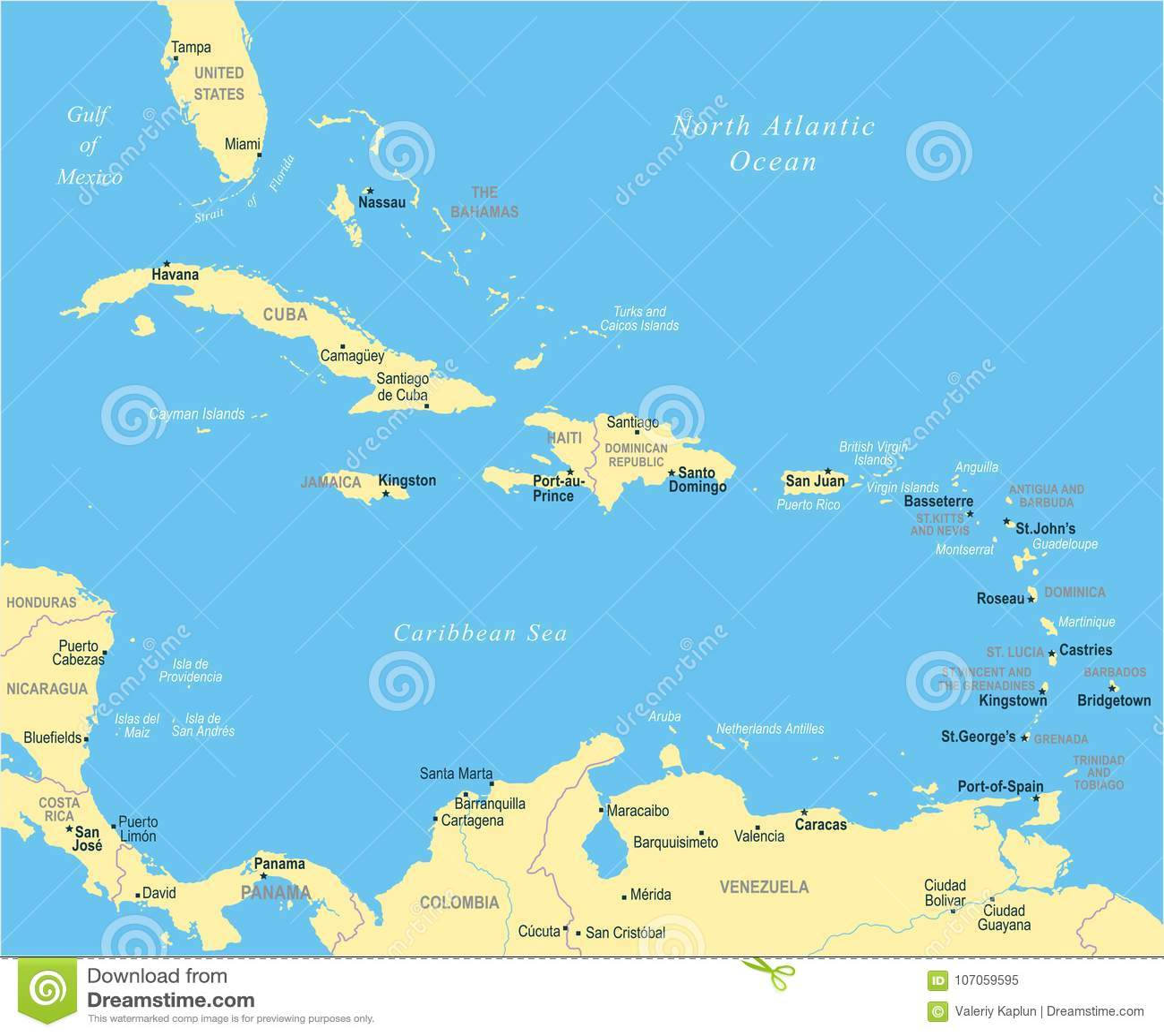 De Caraïbische Kaart - Vectorillustratie
