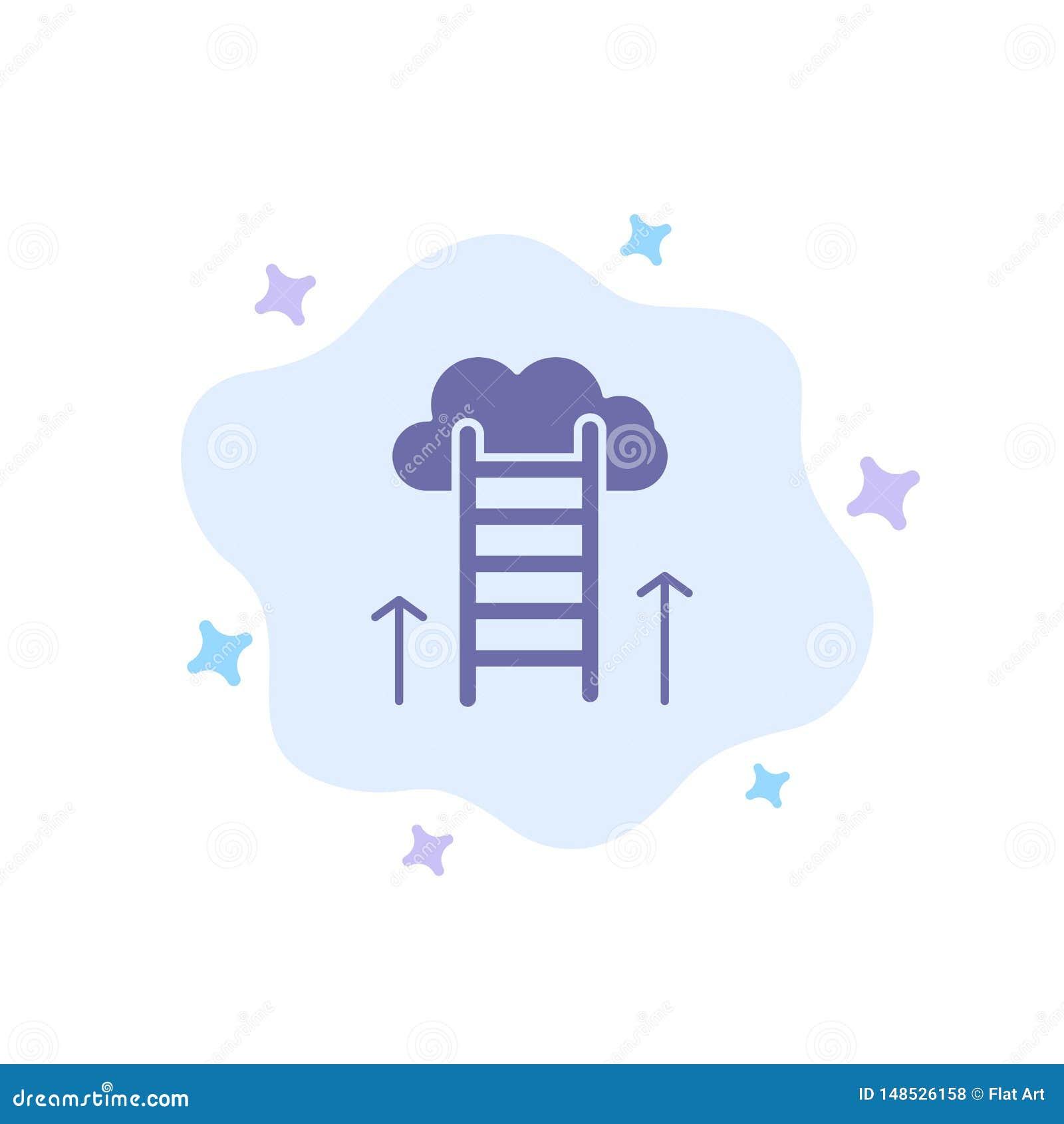 De carrièreweg, Carrière, Droom, Succes, concentreert Blauw Pictogram op Abstracte Wolkenachtergrond