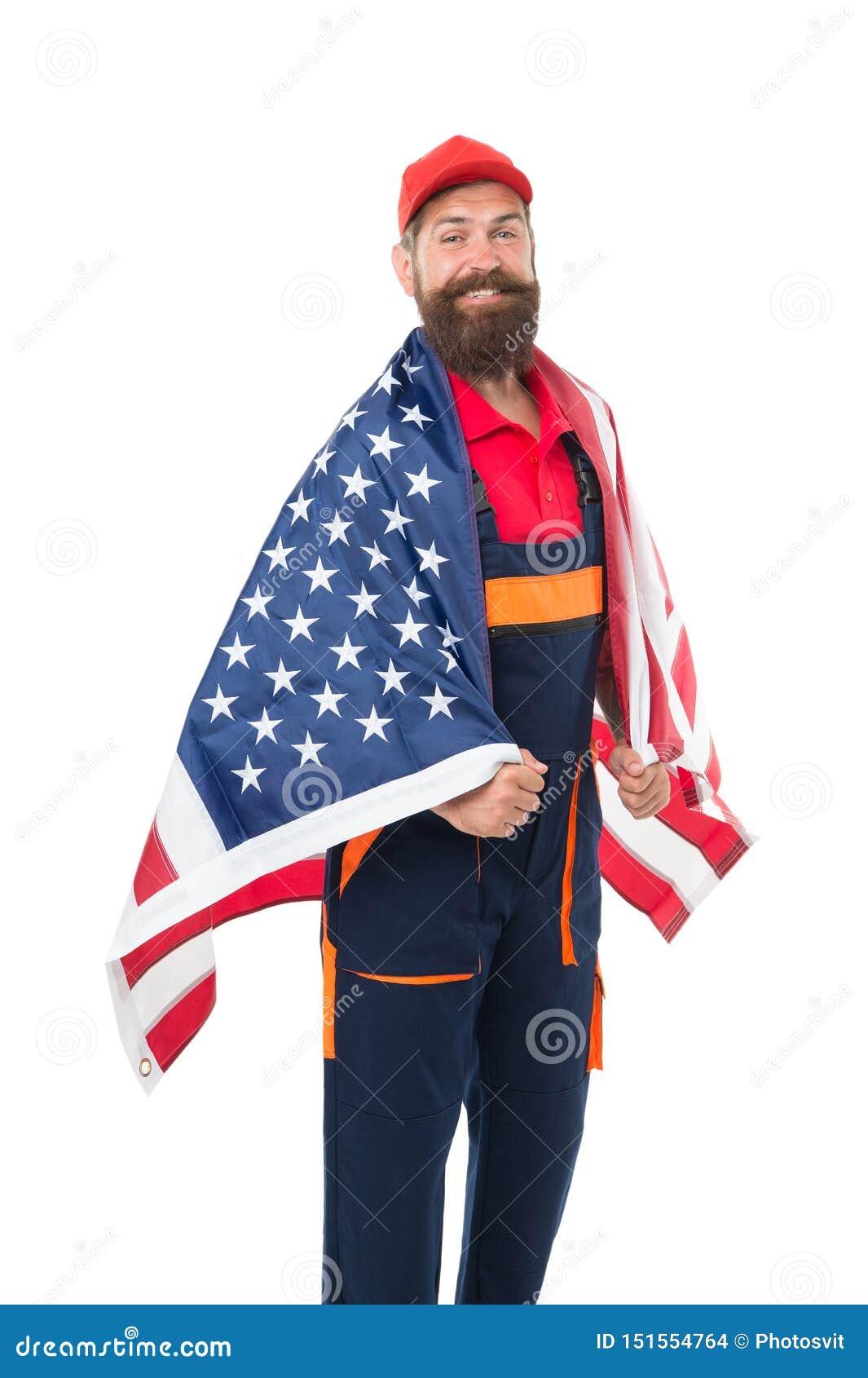 De carri?regroei De Amerikaanse vlag van de mensengreep Reparatie en Vernieuwing Eenvormige kerelarbeider Bouwers regelmatige arb