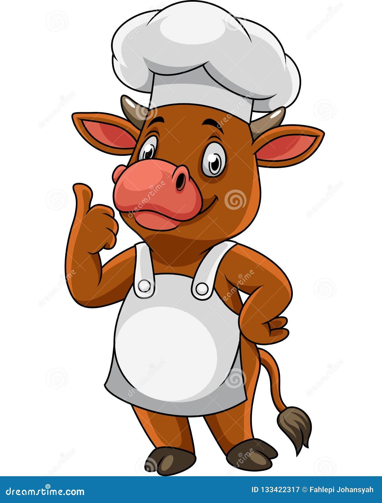 De chef-kok van de beeldverhaal het gelukkige koe omhoog beduimelt geven