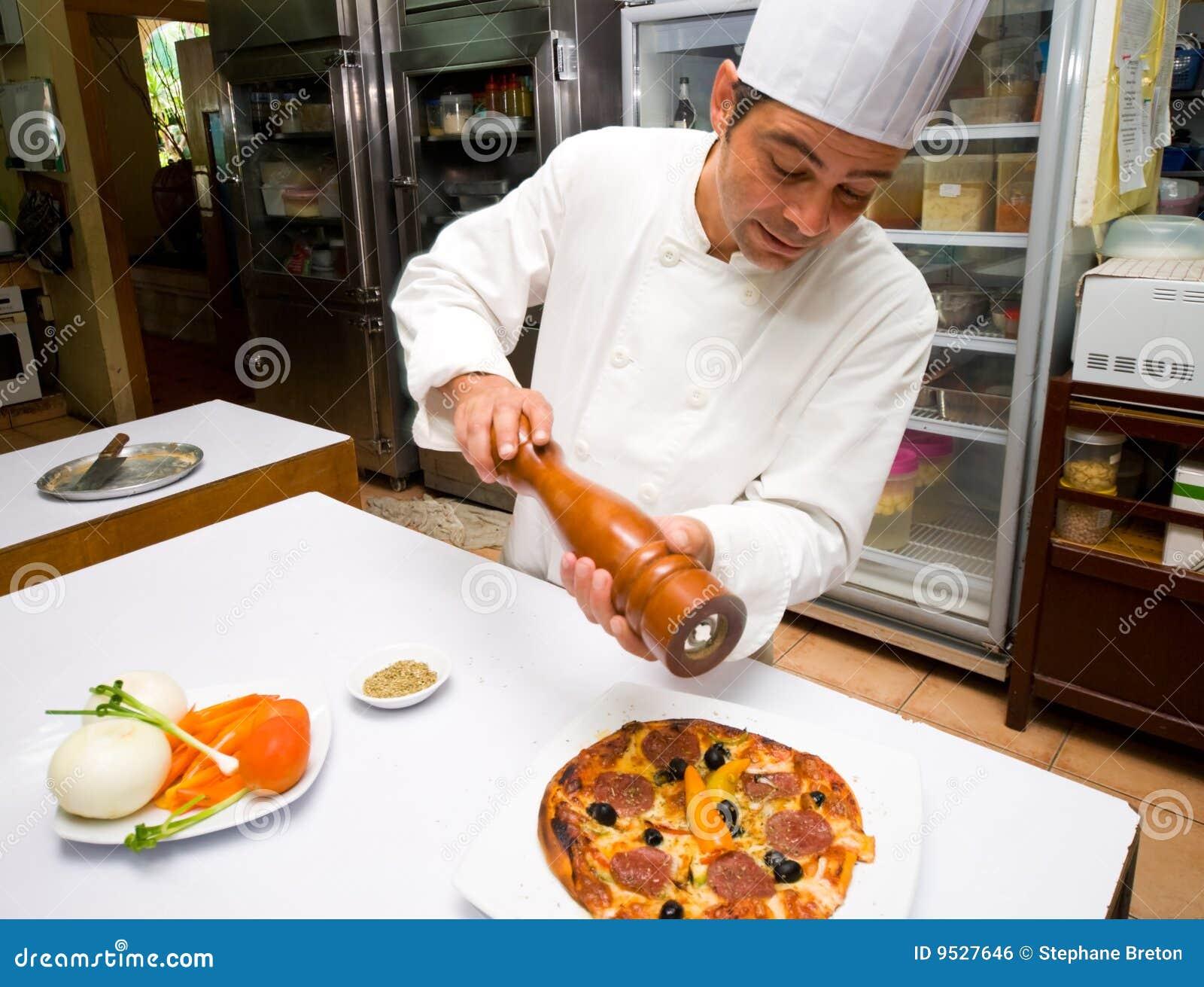 De Chef-kok van de pizza