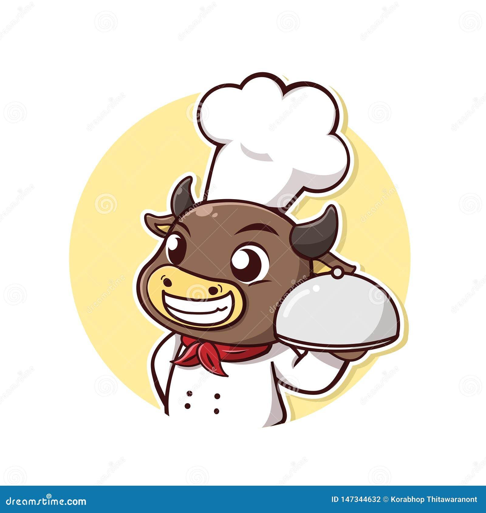 De chef-kokglimlach van het stierenlapje vlees en gelukkig