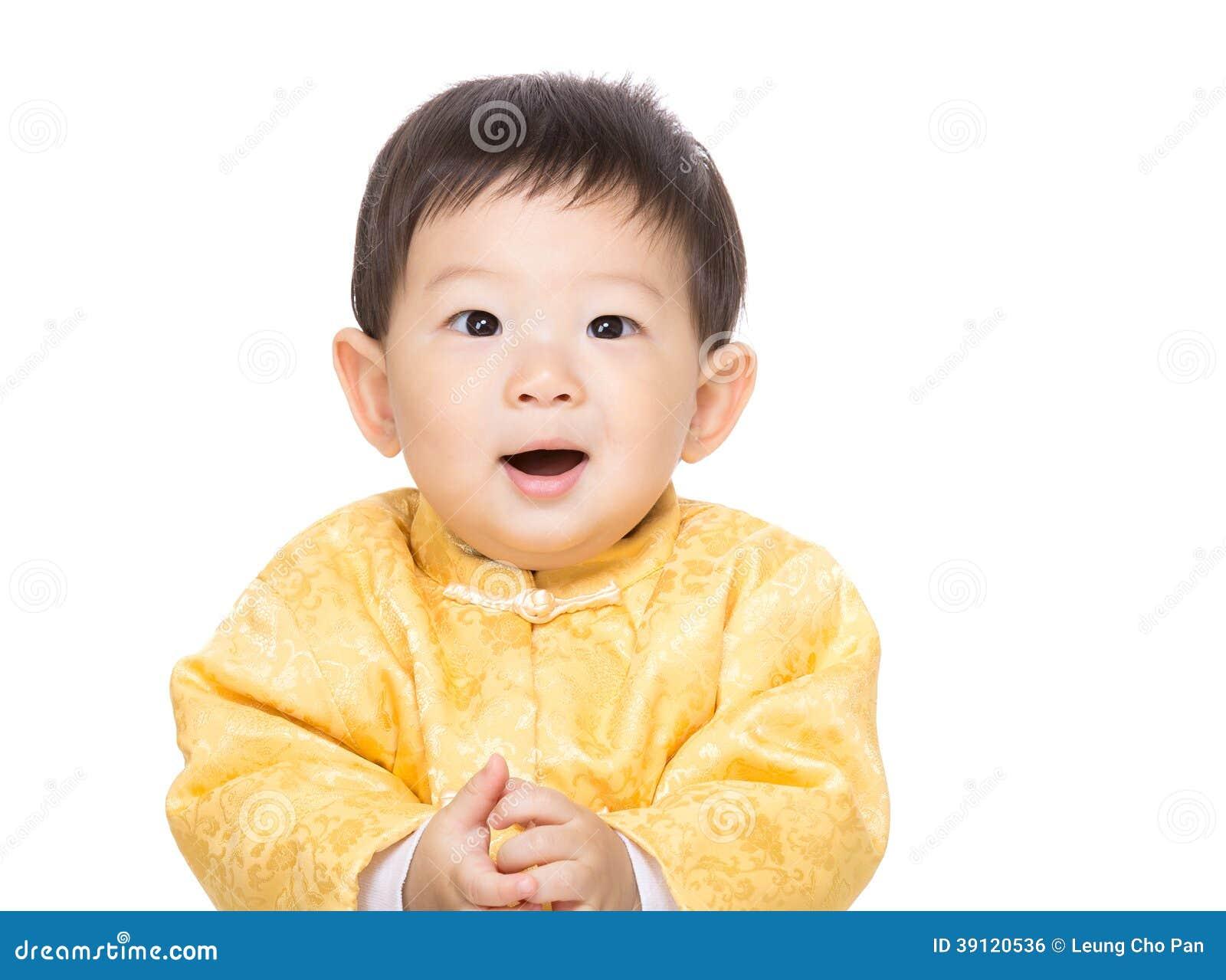 De Chinese glimlach van de babyjongen