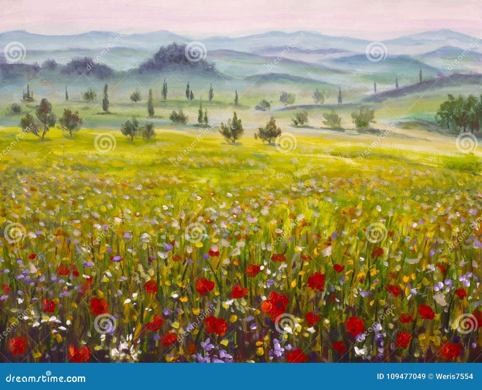 De cipressenlandschap van kunstwerk Italiaans Toscanië met bergen, bloemengebied het schilderen op canvas