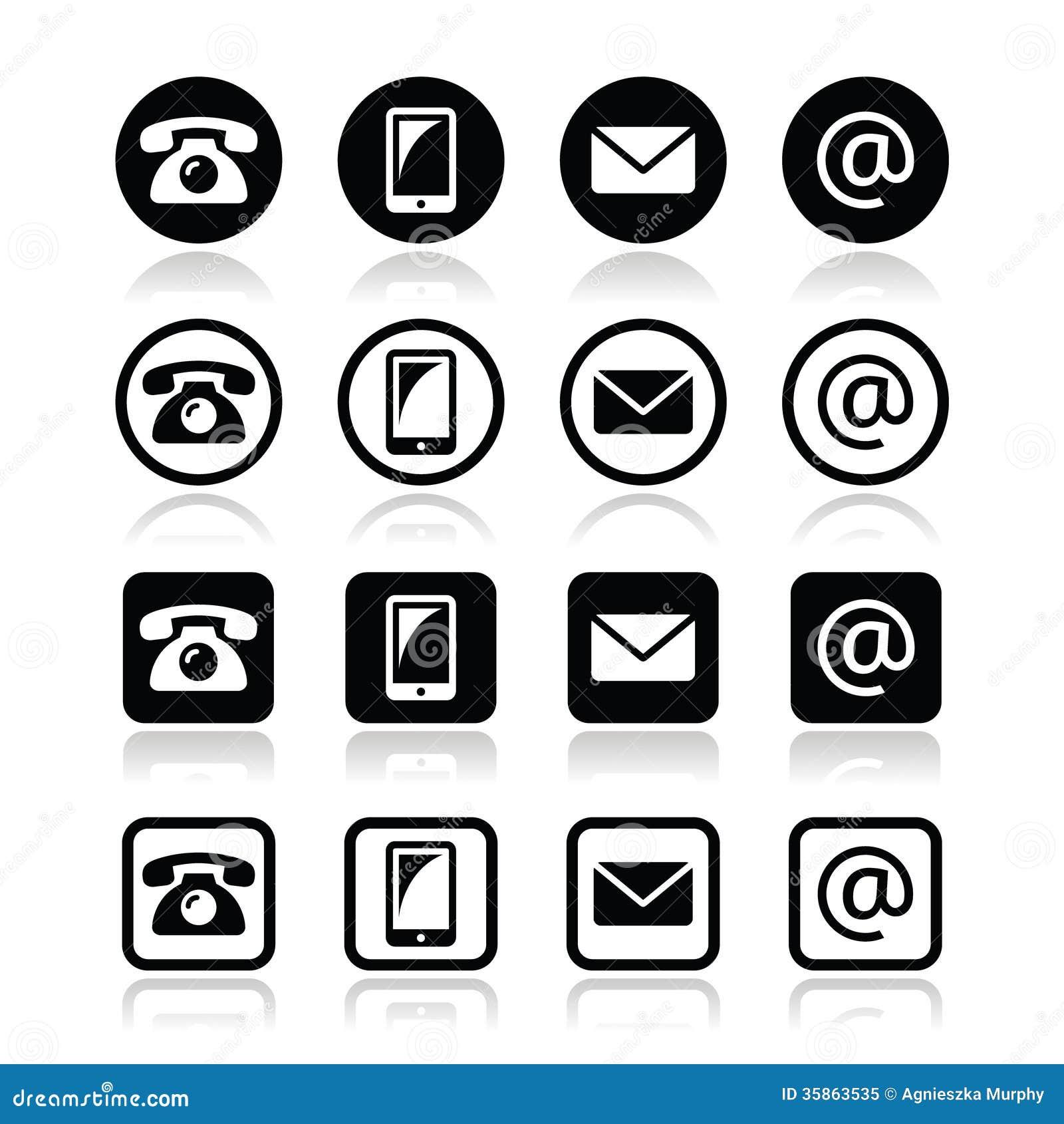de cirkel en het vierkant van contacticonsin plaatsen mobiel telefoon e mail envelop. Black Bedroom Furniture Sets. Home Design Ideas
