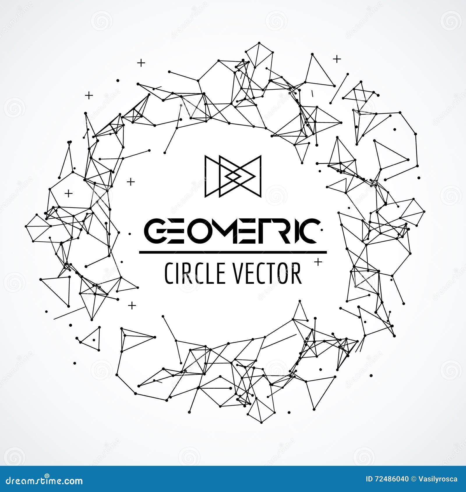 De cirkel van het Wireframenetwerk, gebroken veelhoekig gebied met verbonden lijnen en punten Het concept van de aansluting Digit