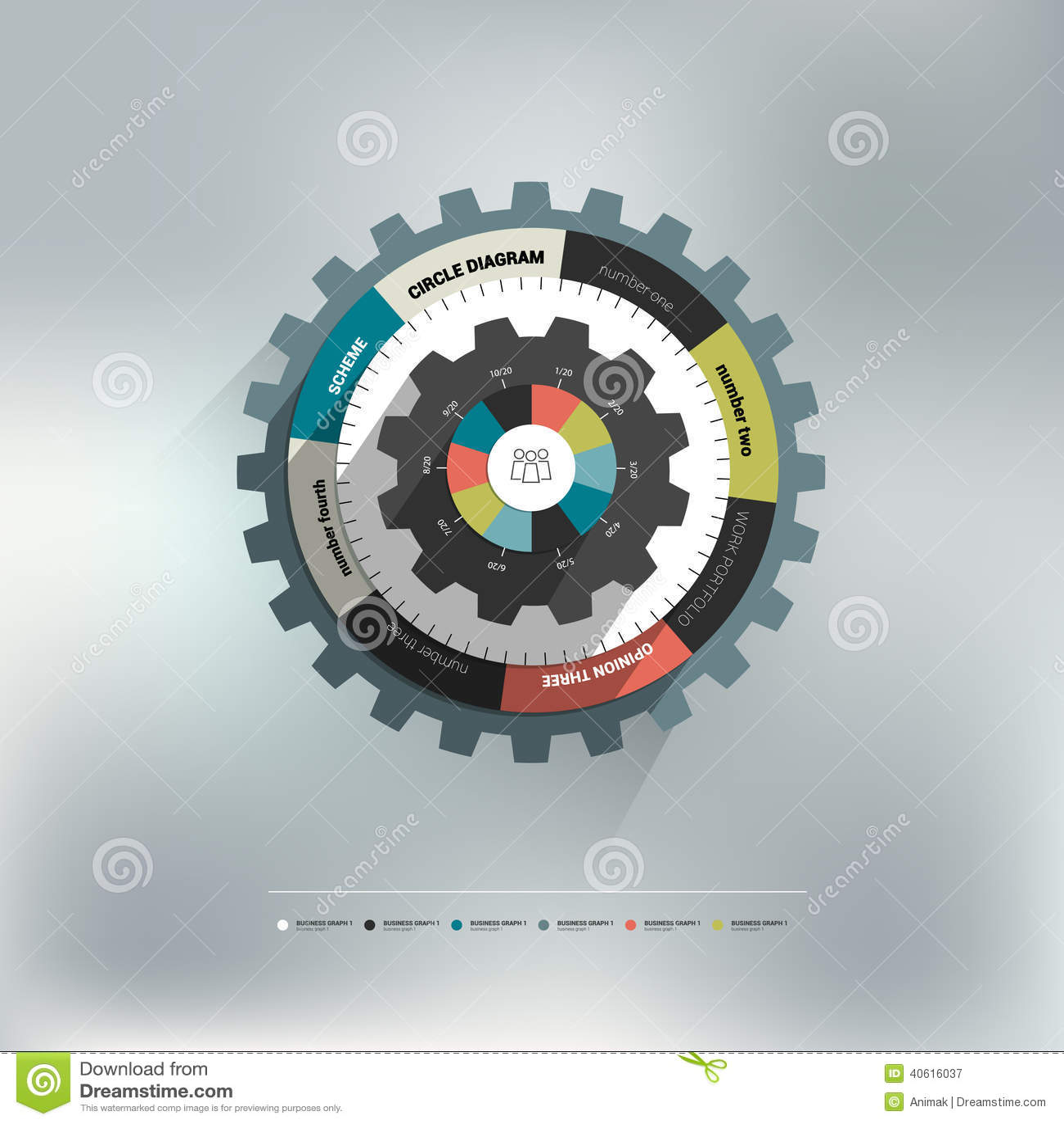 De cirkeldiagram van het radertjewiel voor grafische informatie