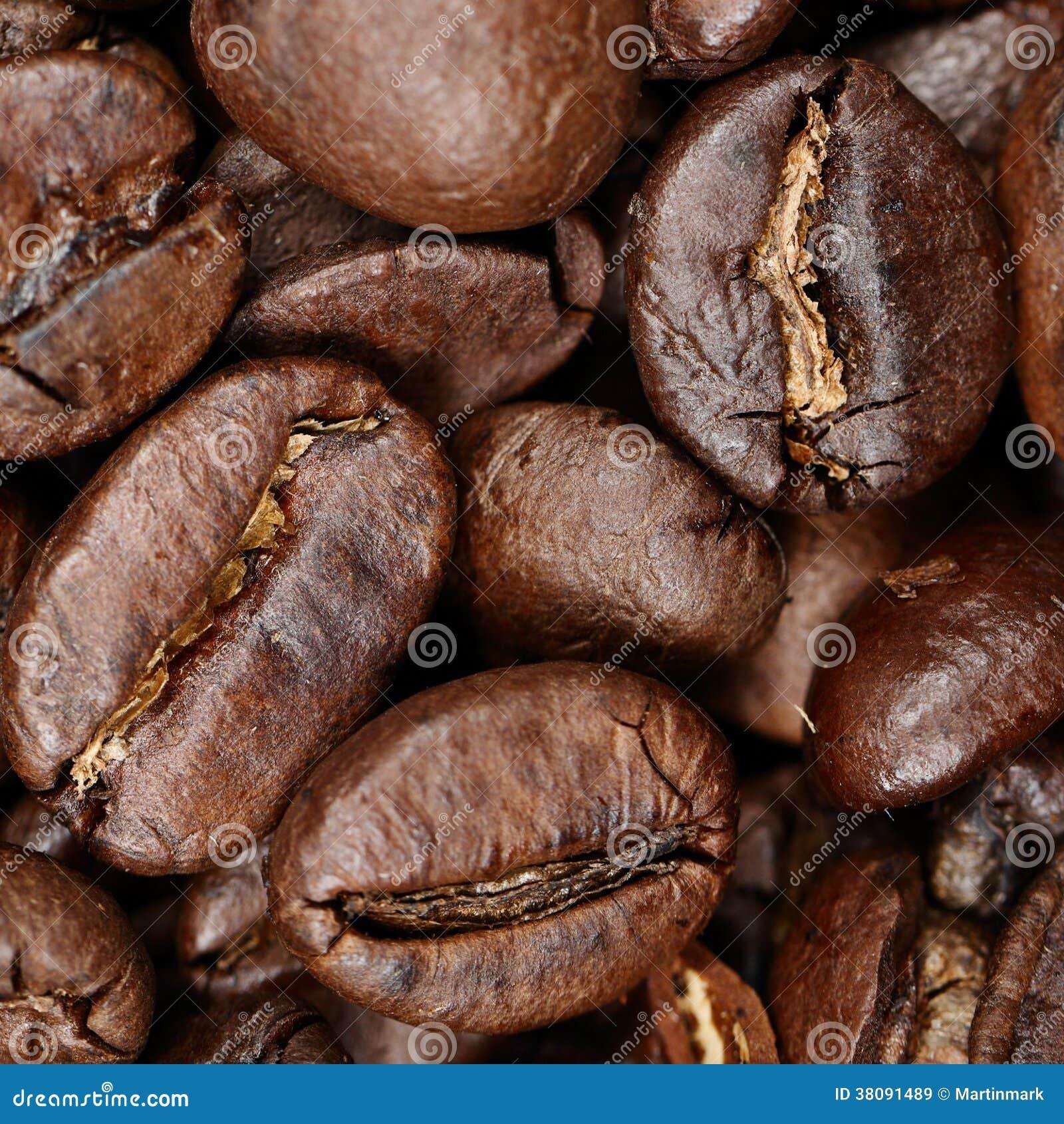 De close-up textuur van achtergrondkoffiebonen