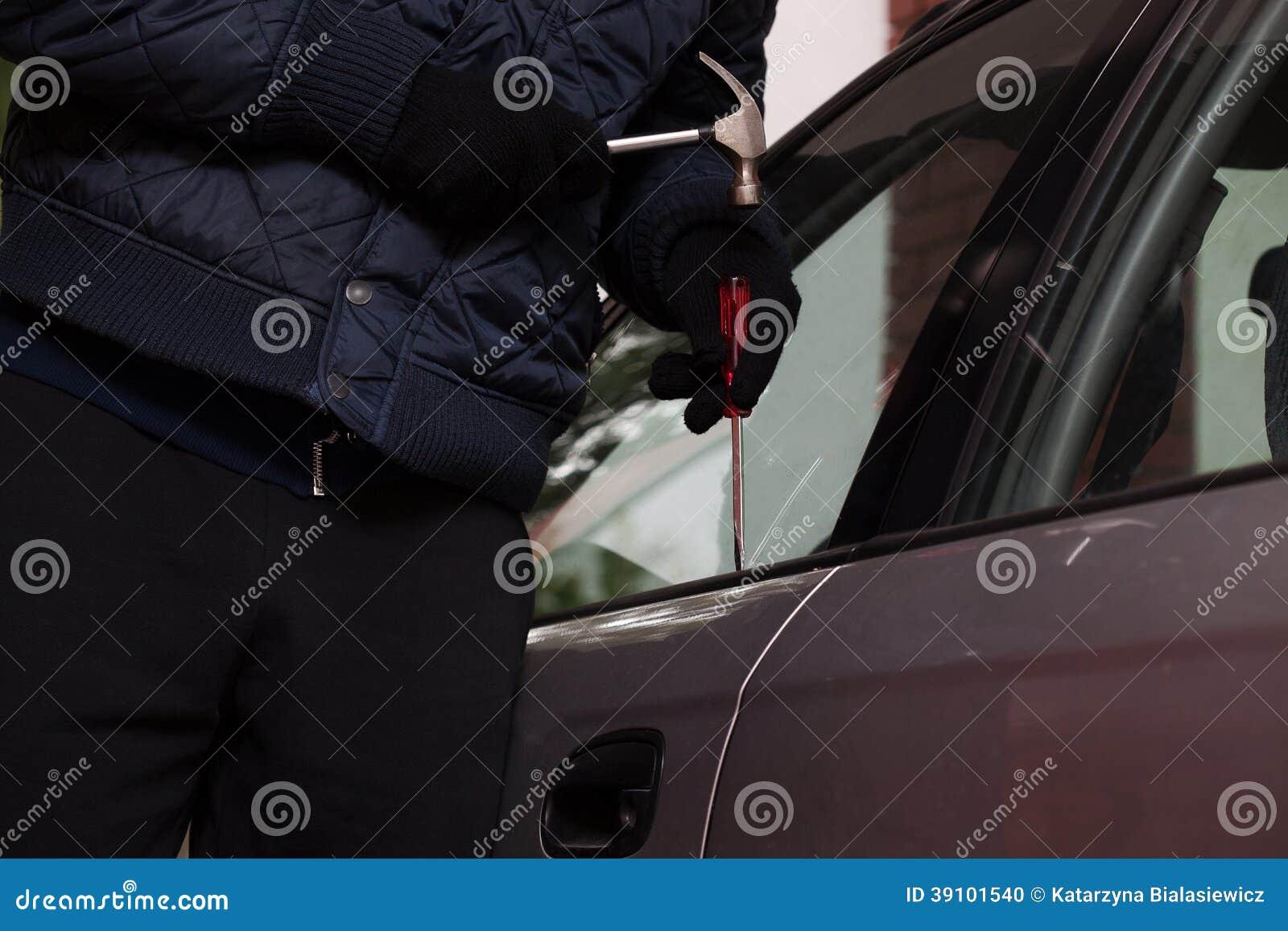 De close-up van de autoinbraak
