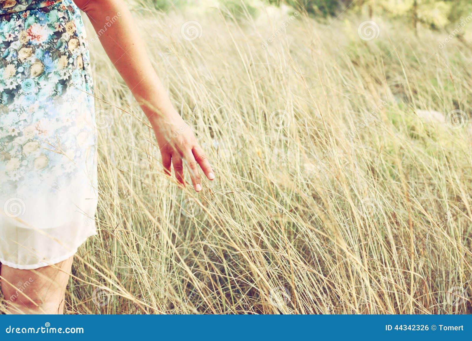 De close-up van een vrouw overhandigt wat betreft lang gras op gebied Selectieve nadruk